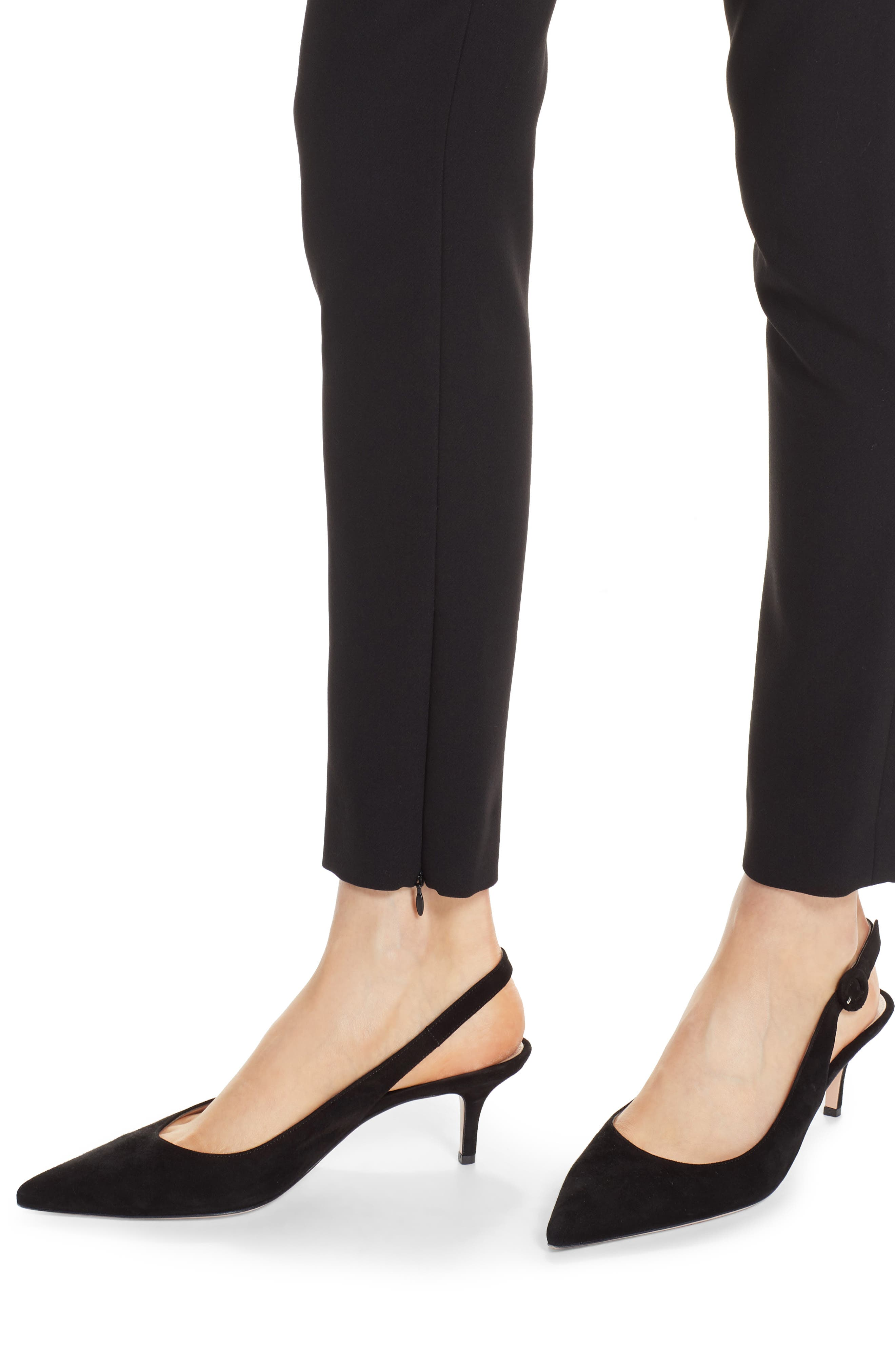 Bella Double Weave Skinny Pants,                             Alternate thumbnail 4, color,                             CAVIAR
