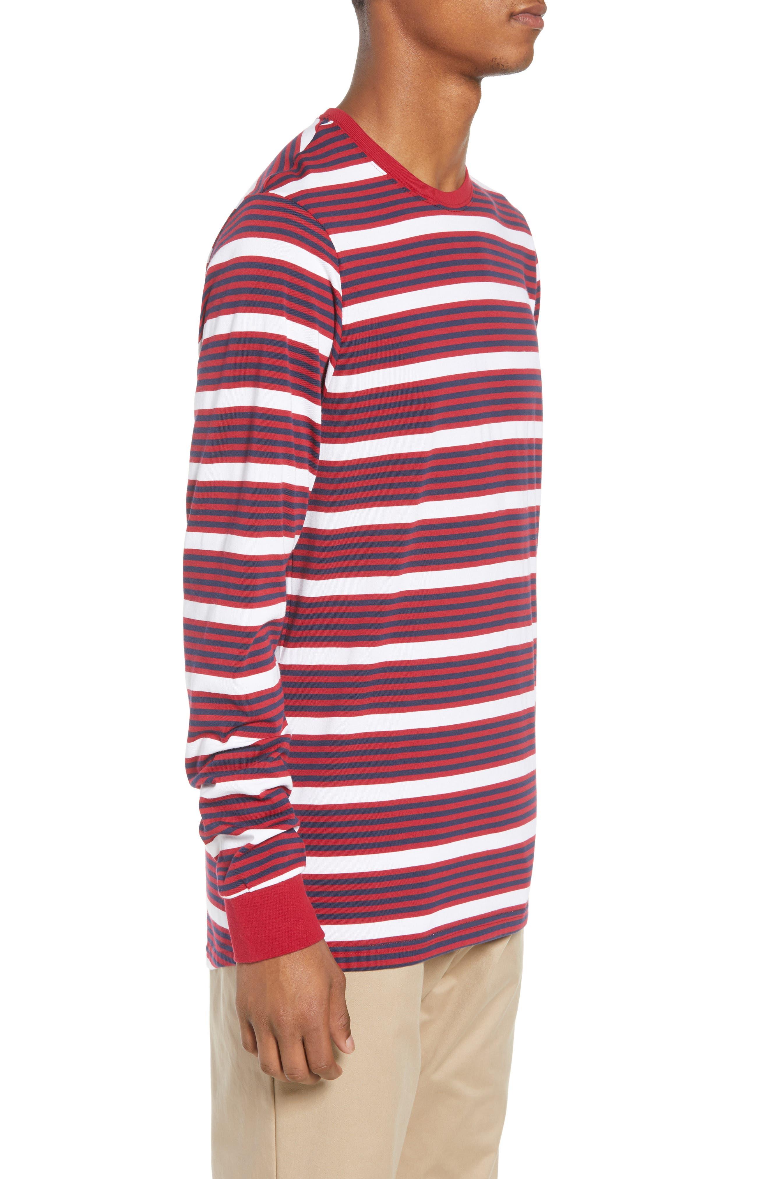 Dry Stripe Long Sleeve T-Shirt,                             Alternate thumbnail 3, color,                             RED CRUSH/ OBSIDIAN