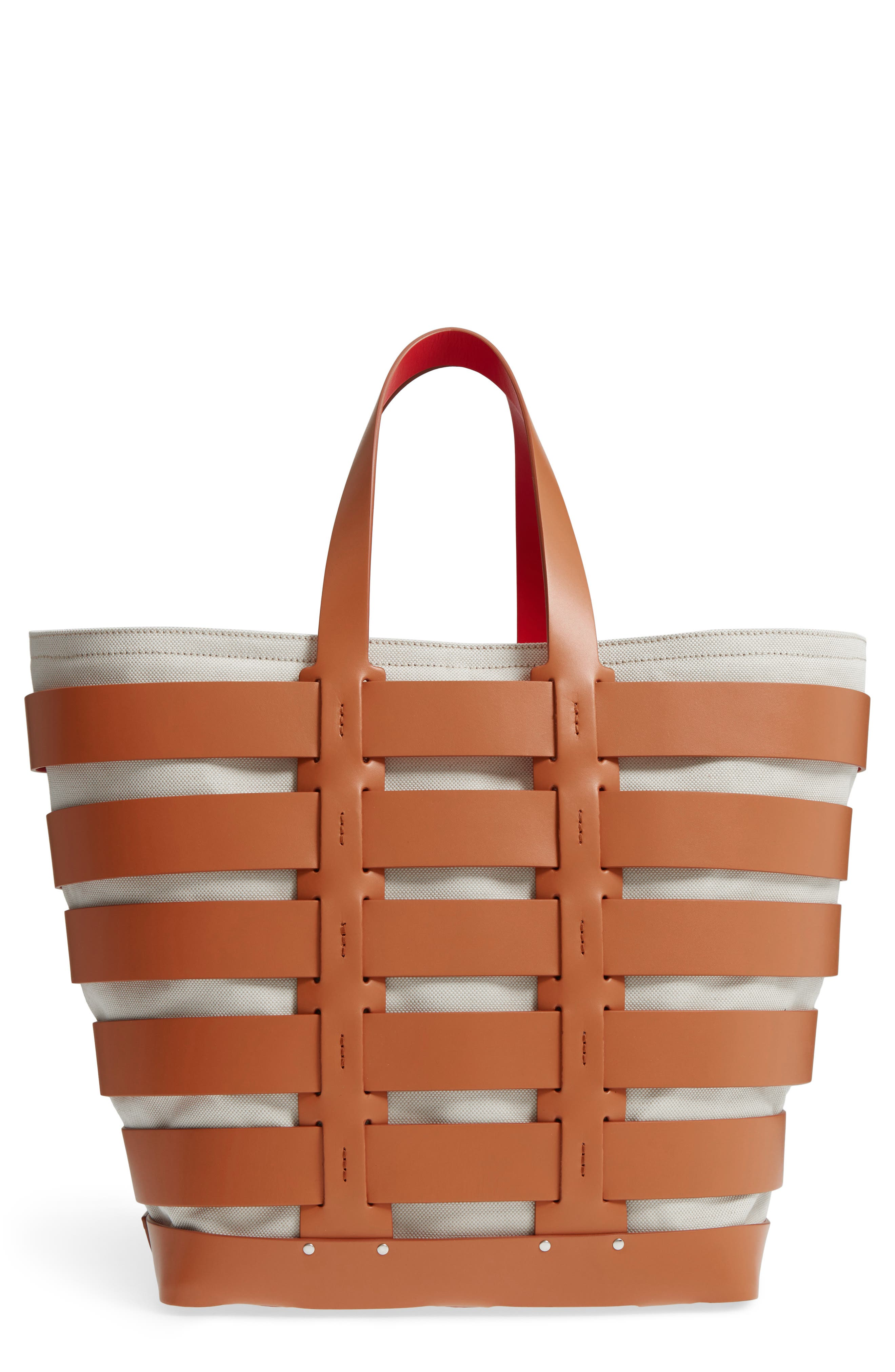 Cage Leather & Canvas Tote,                             Main thumbnail 1, color,                             CAMEL