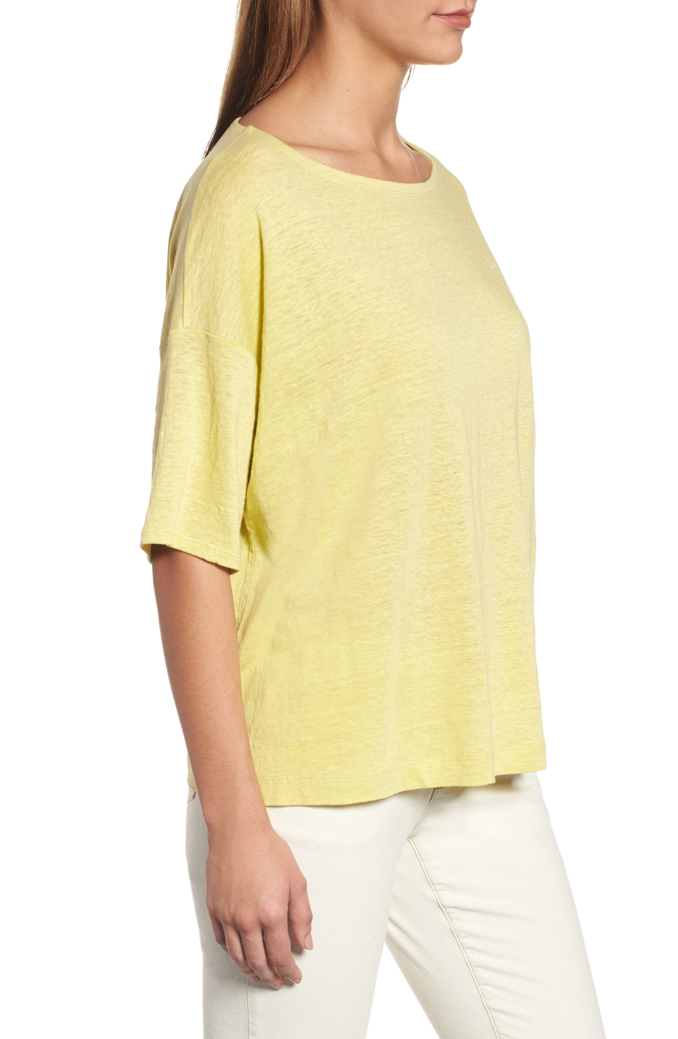 Organic Linen Jersey Boxy Top,                             Alternate thumbnail 21, color,