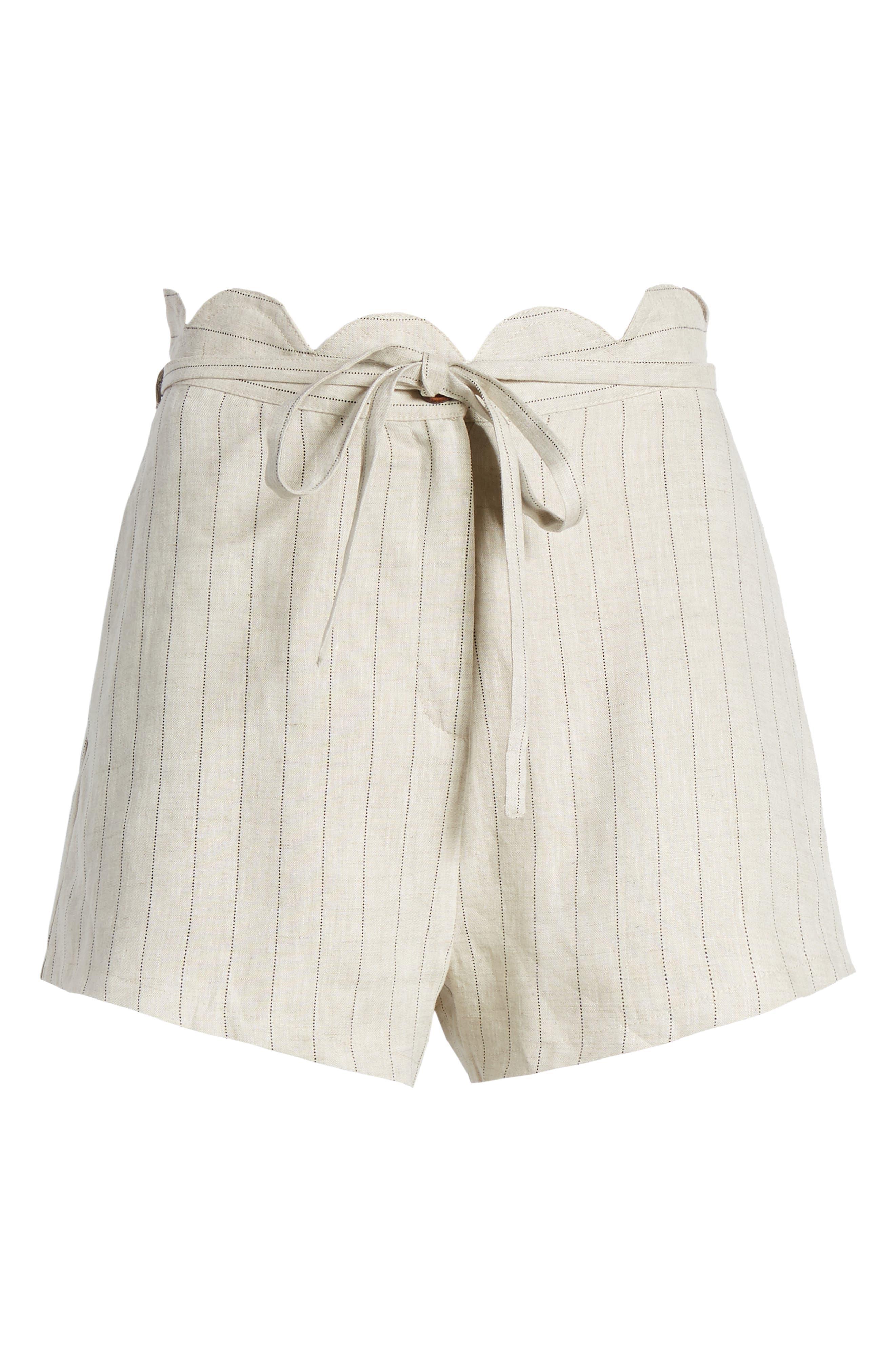 Scallop Waist Linen Shorts,                             Alternate thumbnail 6, color,