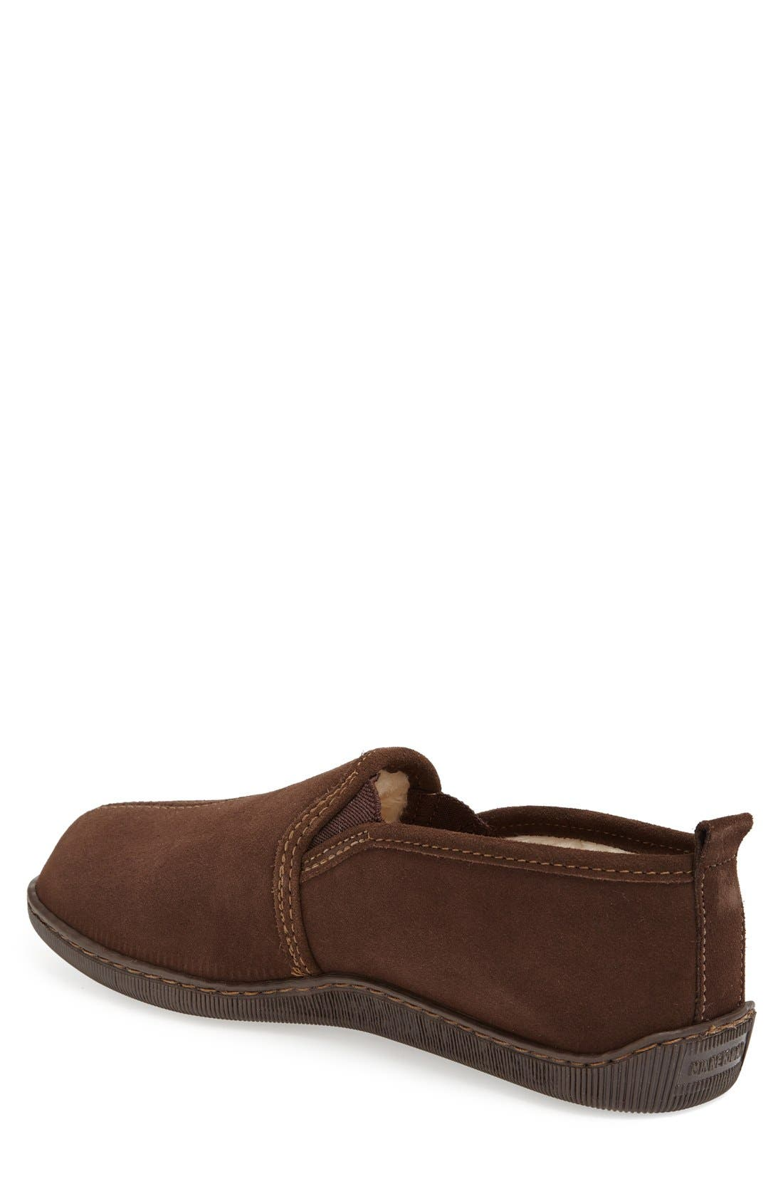 Suede Slipper,                             Alternate thumbnail 4, color,                             CHOCOLATE