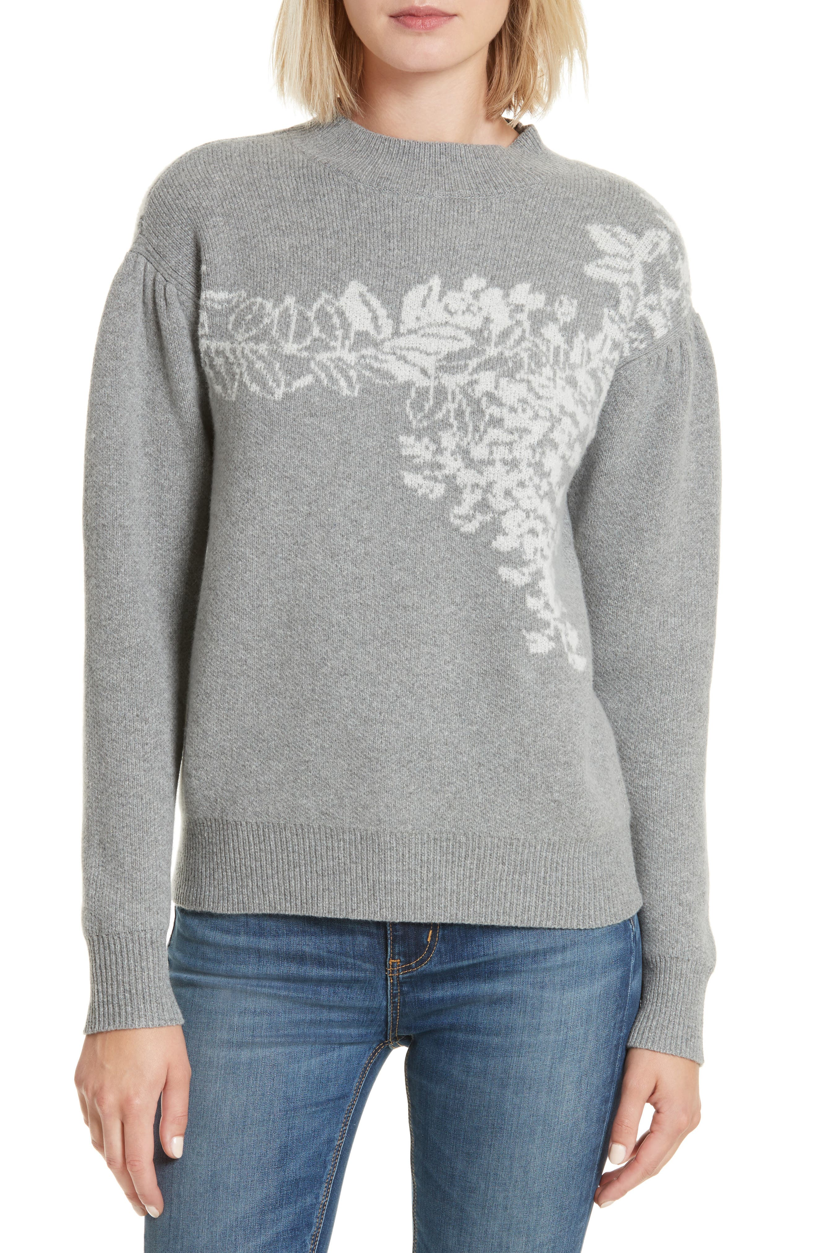 Jacquard Floral Pullover,                         Main,                         color, 038