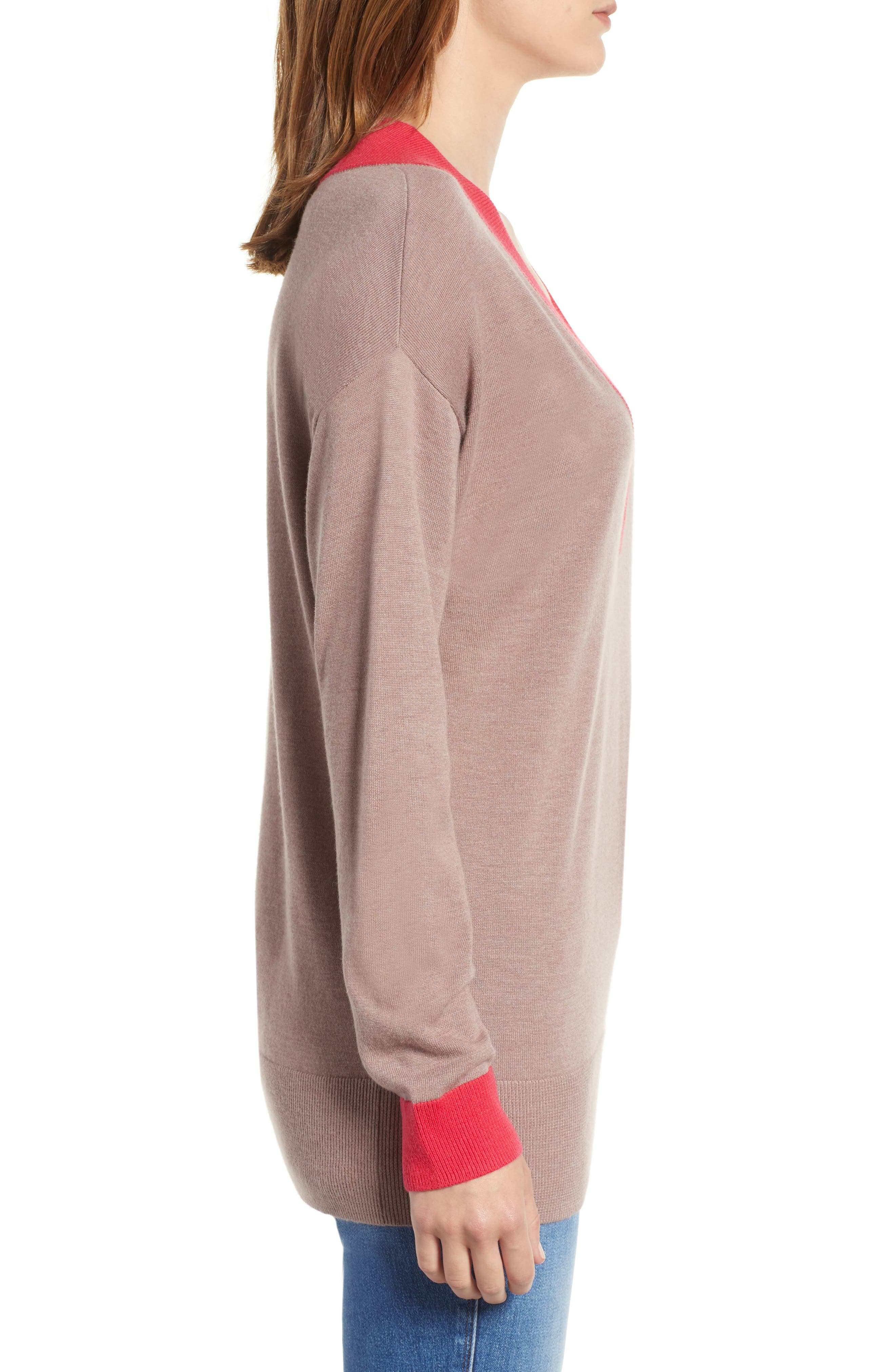 CHELSEA28,                             V-Neck Sweater,                             Alternate thumbnail 3, color,                             PINK FAWN HEATHER COMBO