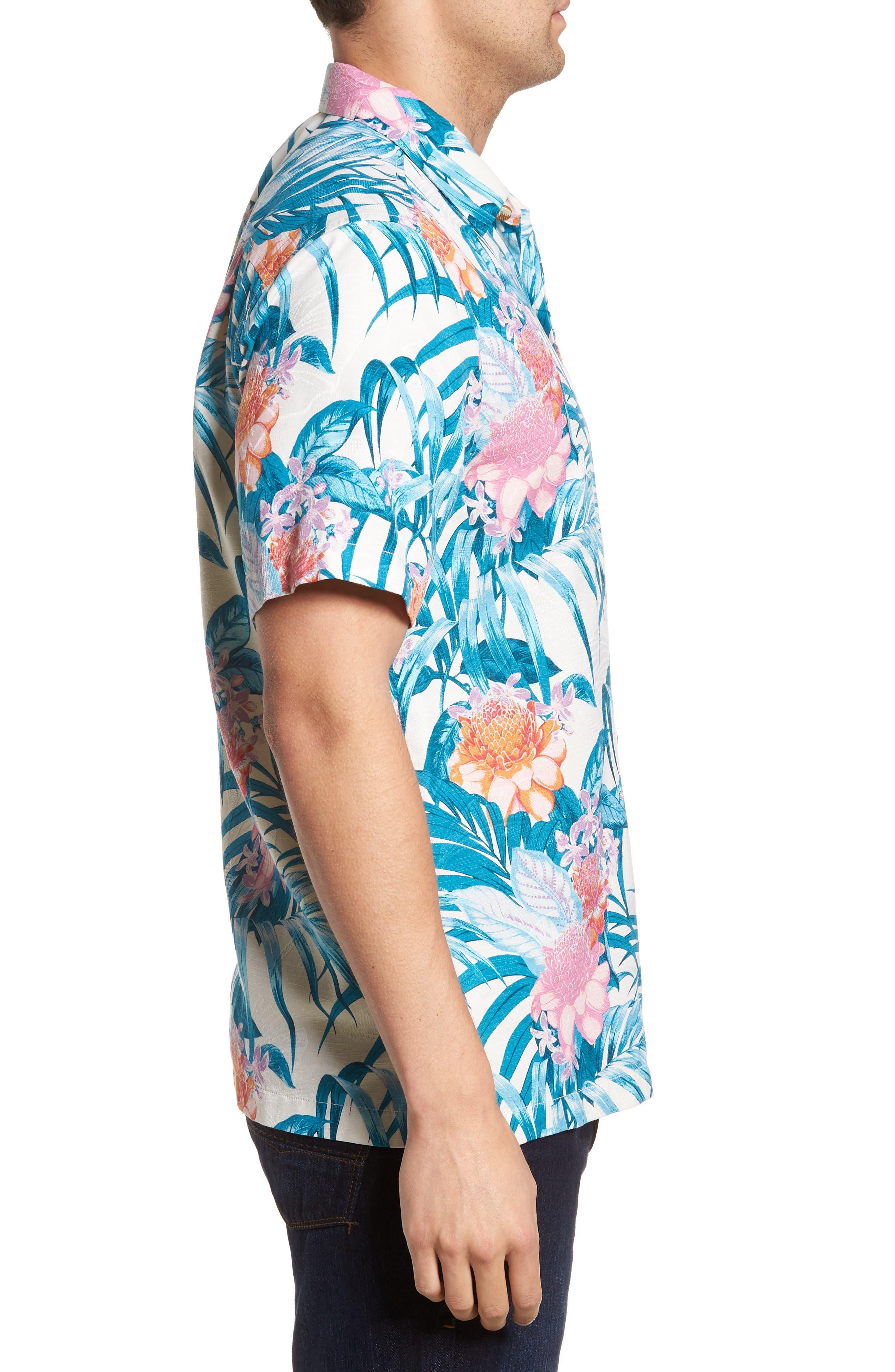 Garden of Hope and Courage Regular Fit Silk Blend Camp Shirt,                             Alternate thumbnail 3, color,                             100
