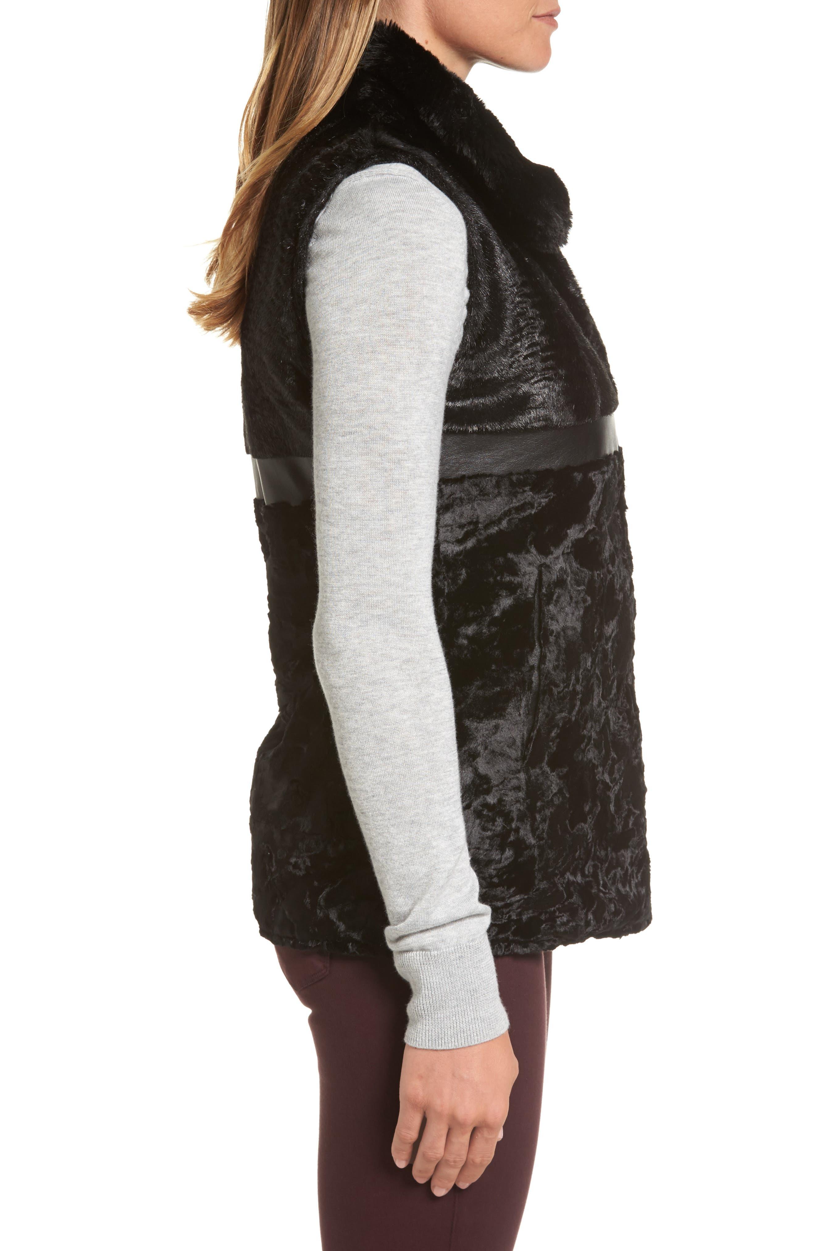 Reversible Faux Fur & Faux Leather Vest,                             Alternate thumbnail 4, color,                             019