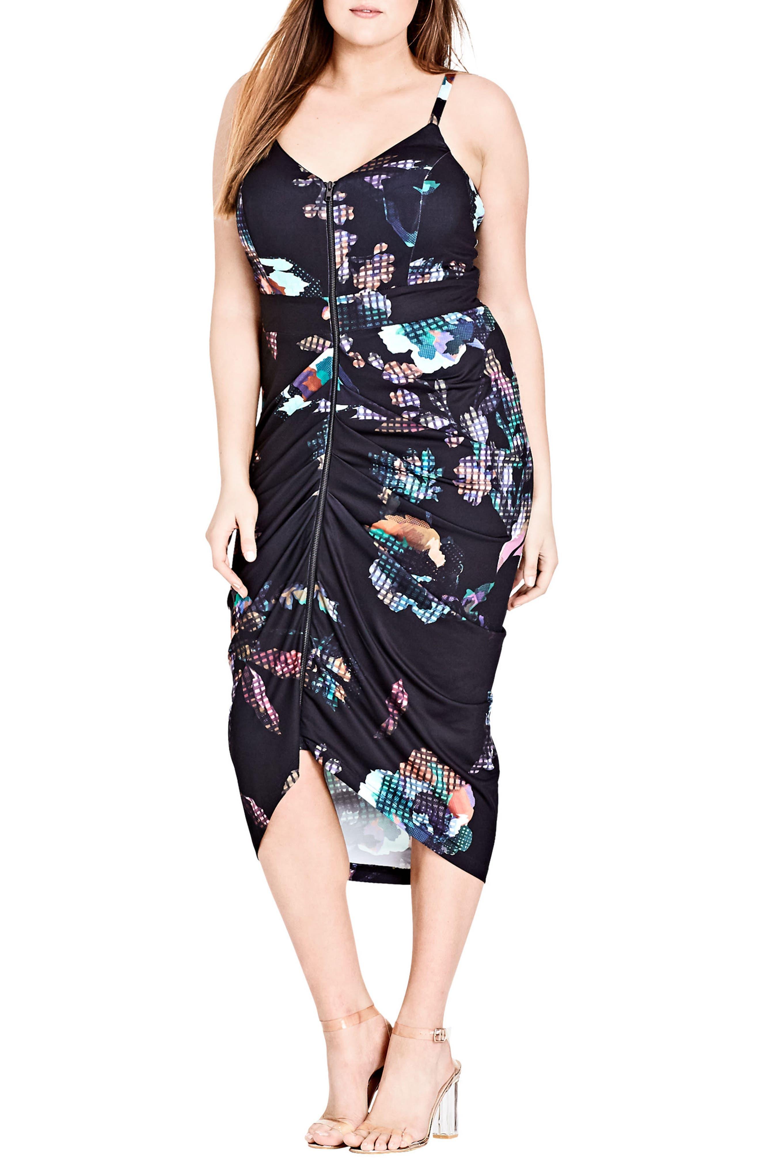 Zip Front Digital Floral Dress,                             Main thumbnail 1, color,                             001