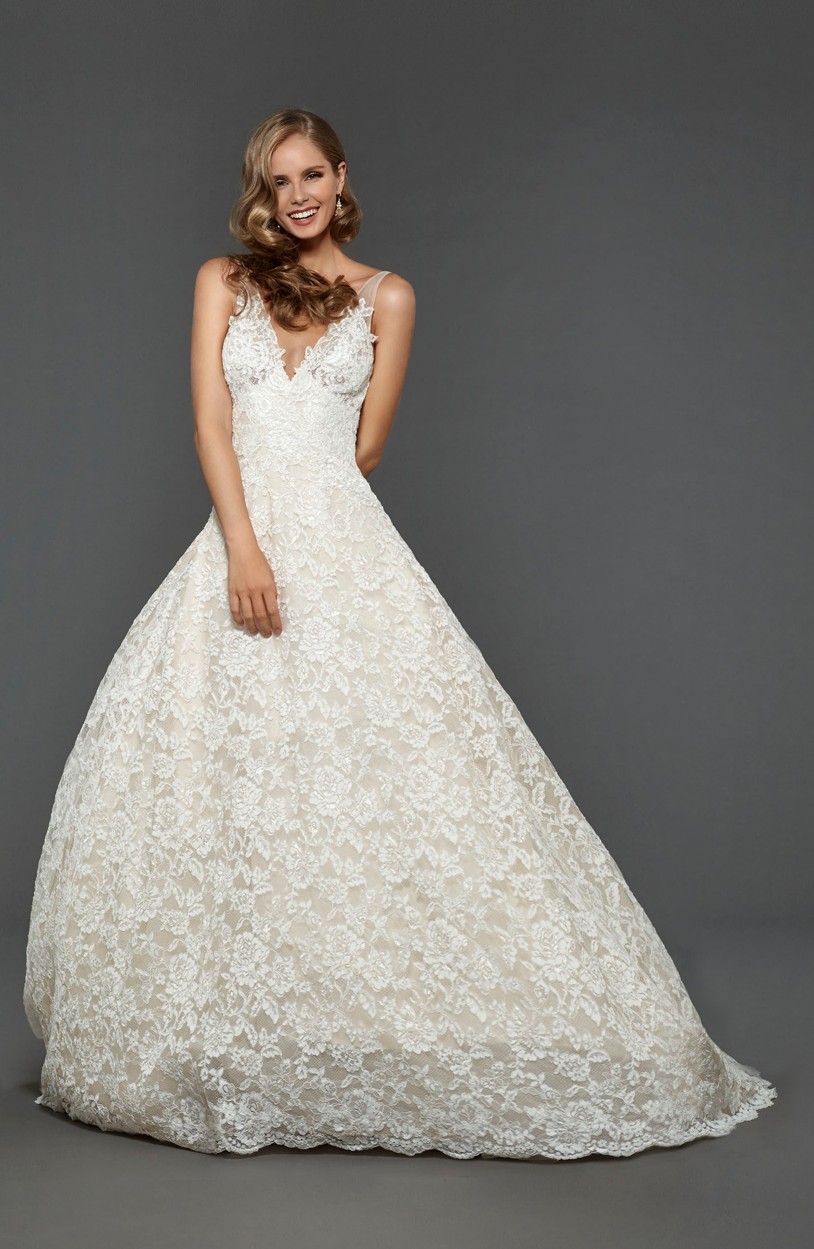 Suzanna Allover Lace Gown,                             Alternate thumbnail 3, color,                             900