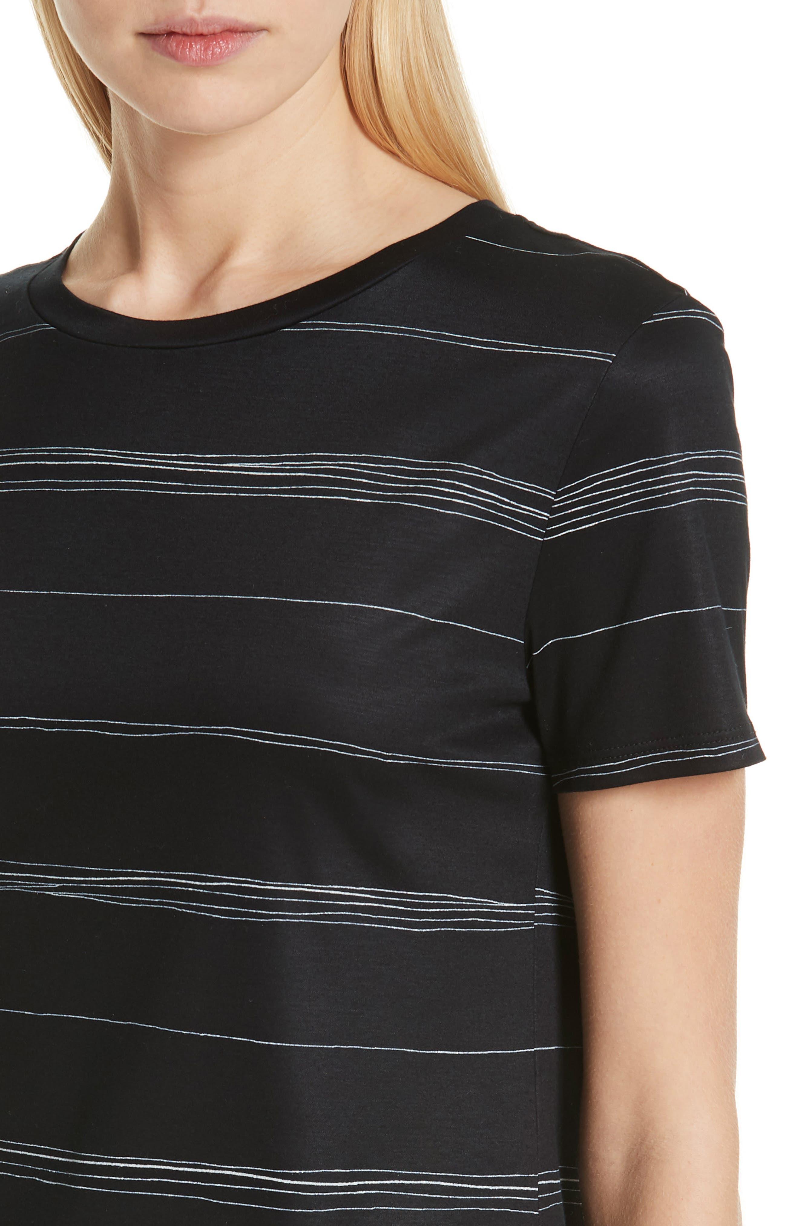 Wavy Stripe Interlock Jersey Tee,                             Alternate thumbnail 4, color,                             CAVIAR MULTI