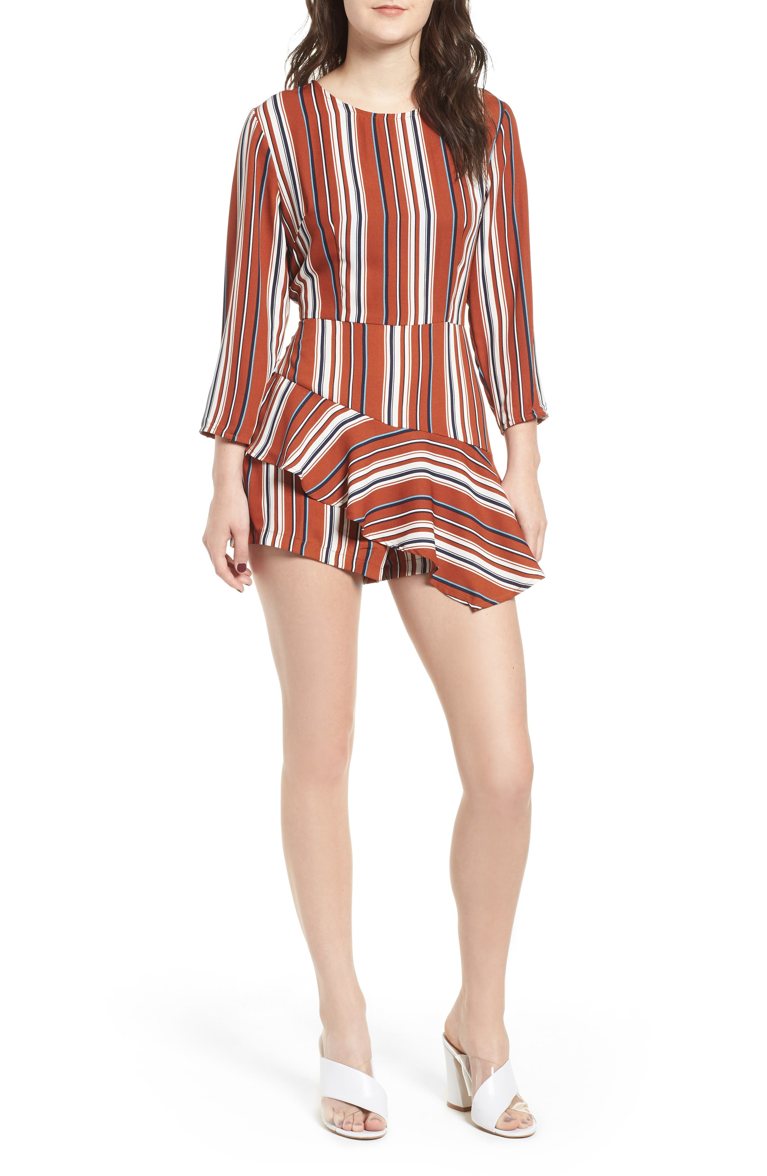 Ruffle Hem Romper,                             Main thumbnail 1, color,                             RUST STRIPE