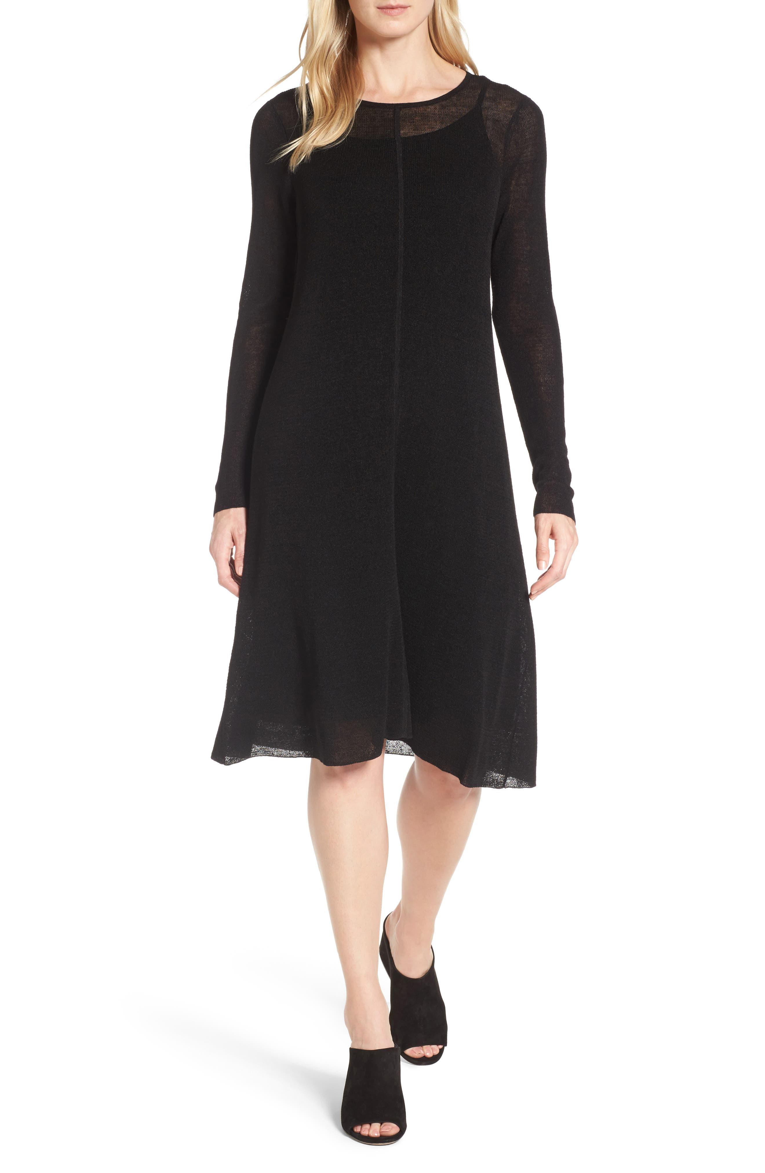 Organic Linen Blend A-Line Dress,                             Main thumbnail 1, color,                             001