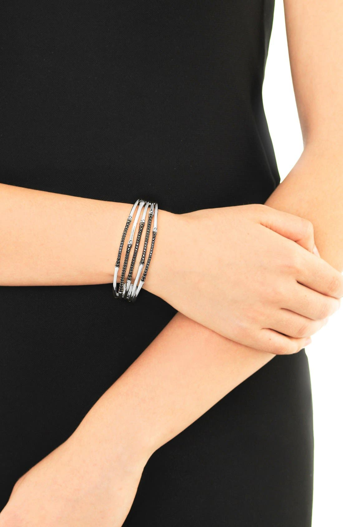 'Bamboo - Lava' Black Sapphire Cuff,                             Alternate thumbnail 2, color,                             SILVER