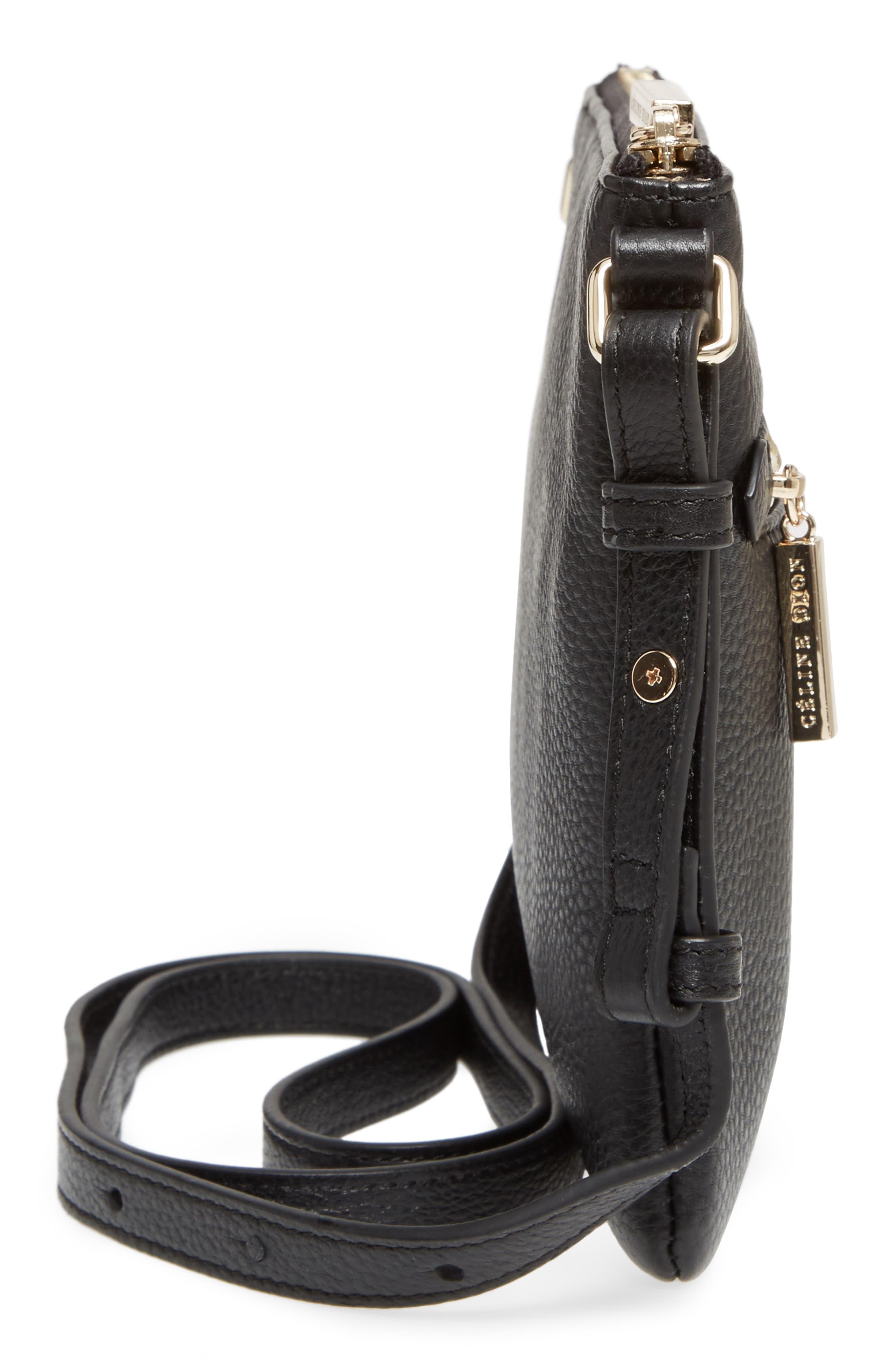 Céline Dion Adagio Leather Crossbody Bag,                             Alternate thumbnail 5, color,                             001