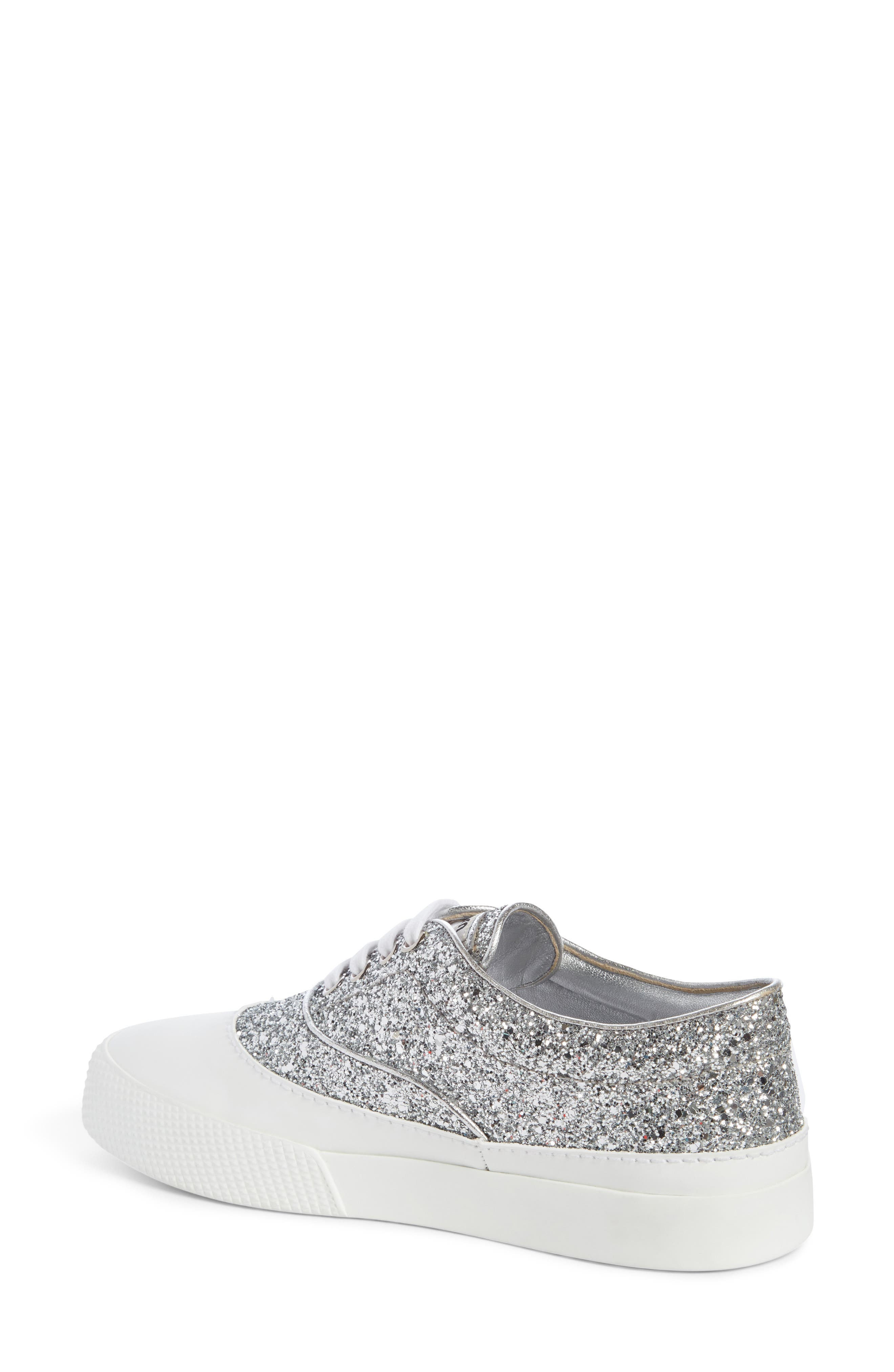 Beaded Glitter Lace-Up Sneaker,                             Alternate thumbnail 2, color,                             100