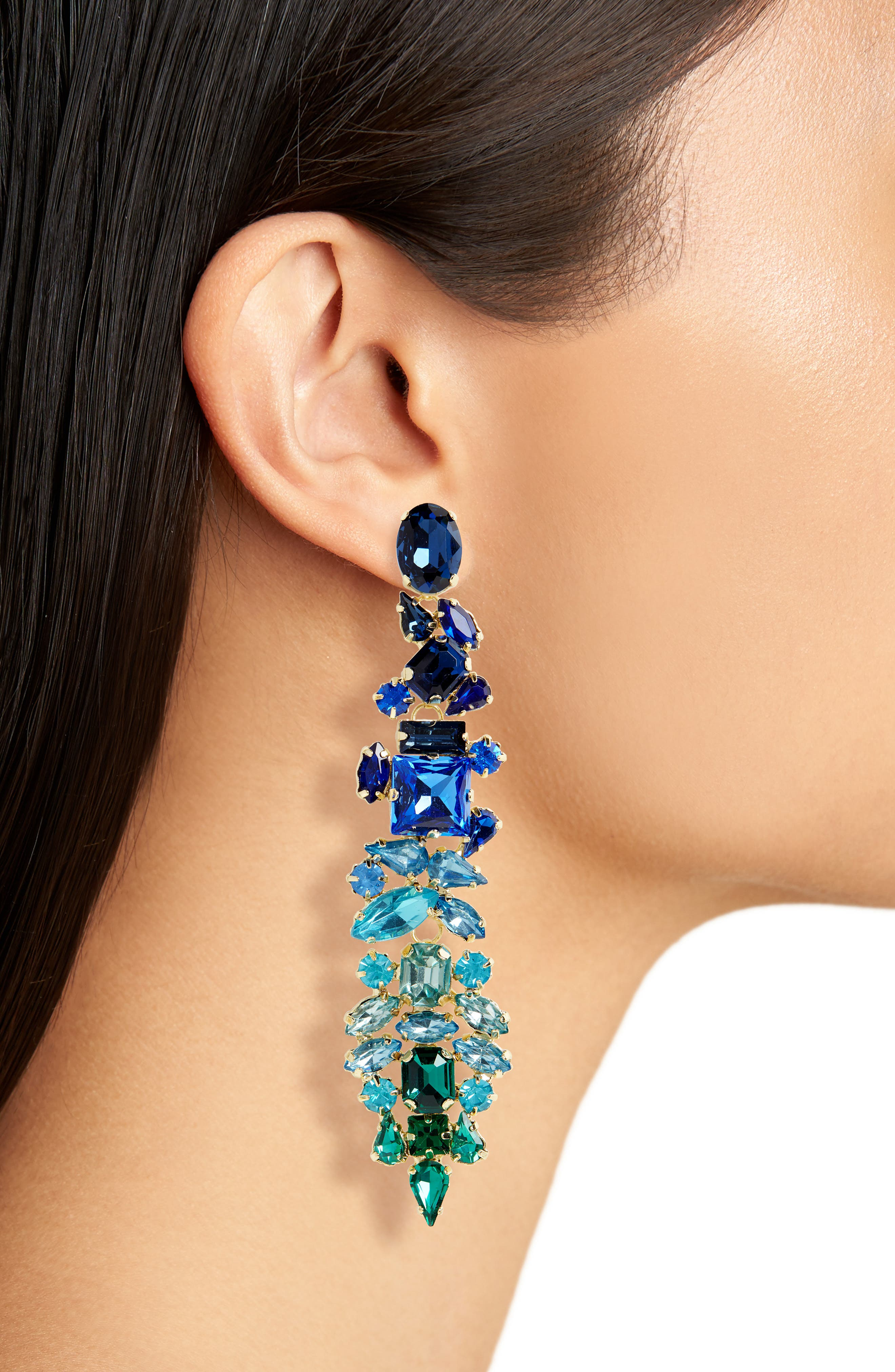 Dynasty Statement Earrings,                             Alternate thumbnail 2, color,                             GOLD/ BLUE