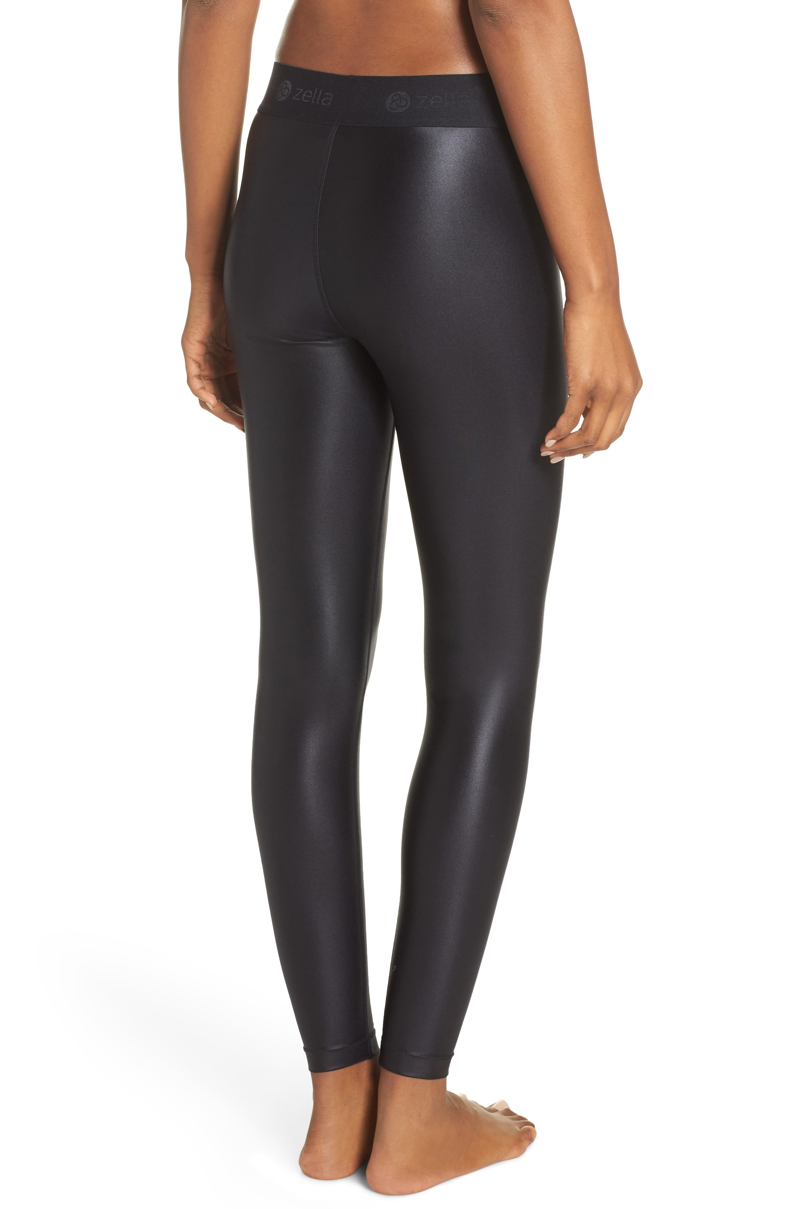 Anya Shine High Waist Ankle Leggings,                             Alternate thumbnail 2, color,                             BLACK