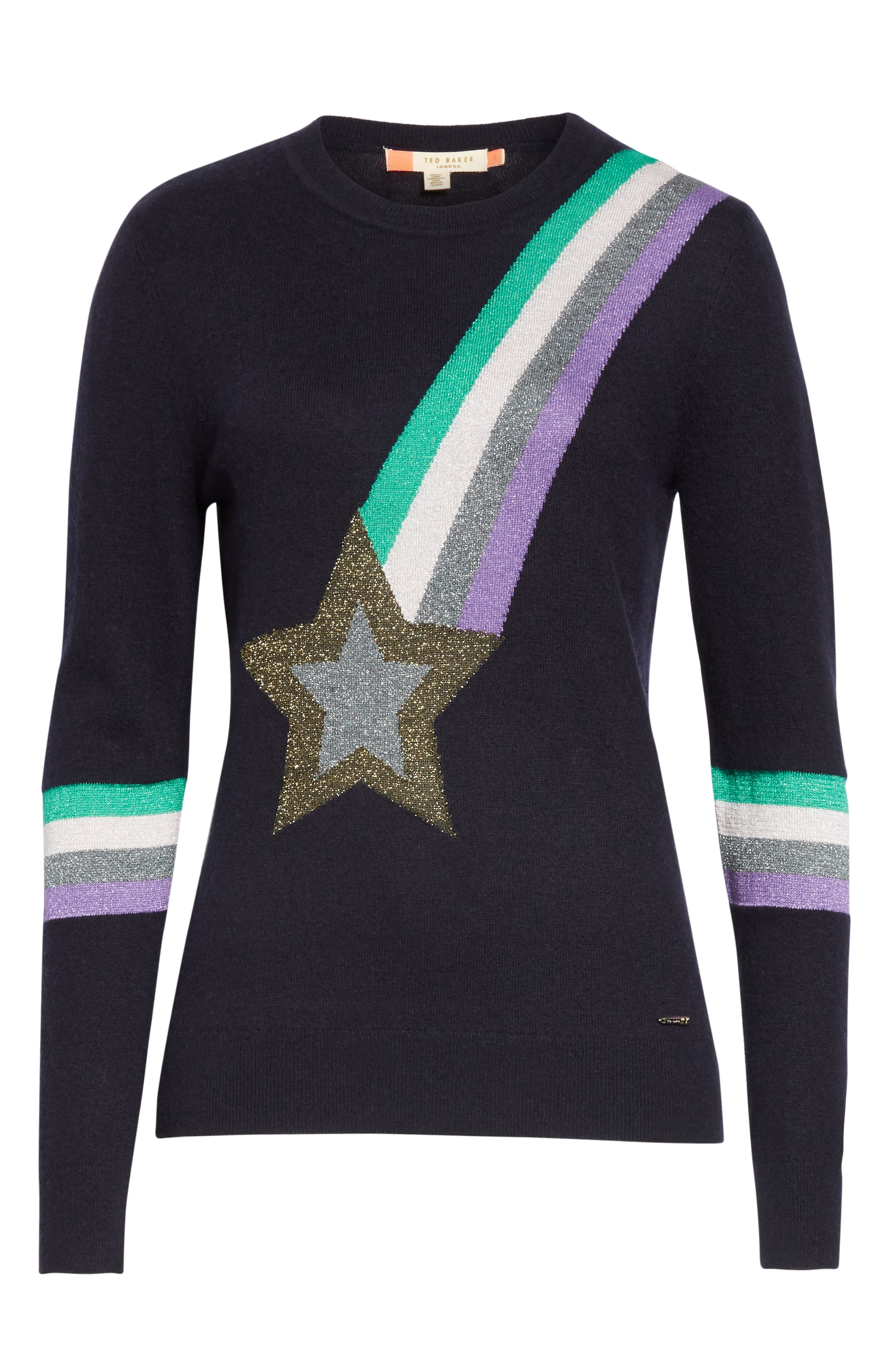 Colour by Numbers Effier Shooting Star Sweater,                             Alternate thumbnail 6, color,                             10-NAVY