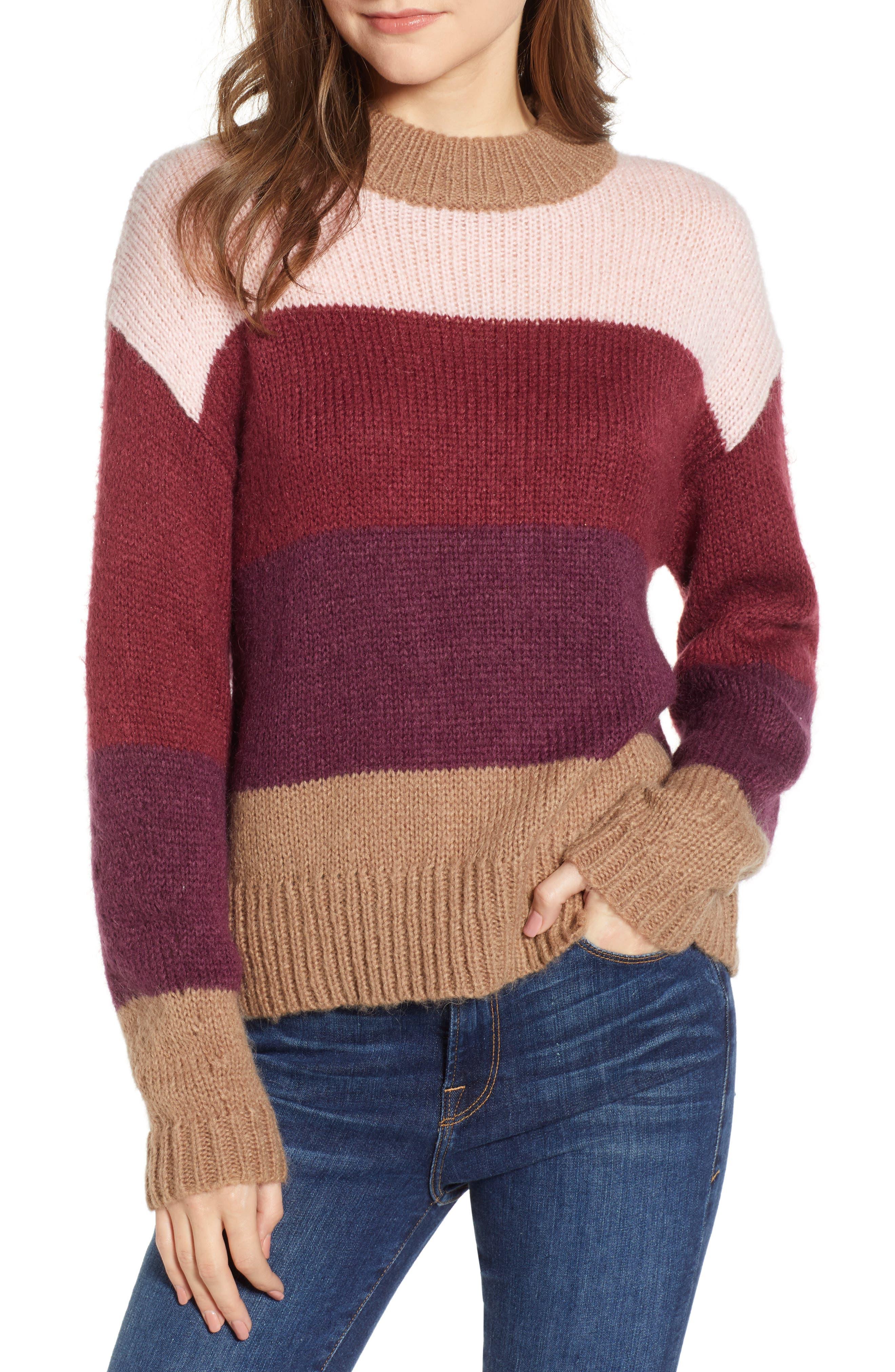 Kendall Stripe Sweater,                             Main thumbnail 1, color,                             CAMEL MULTI