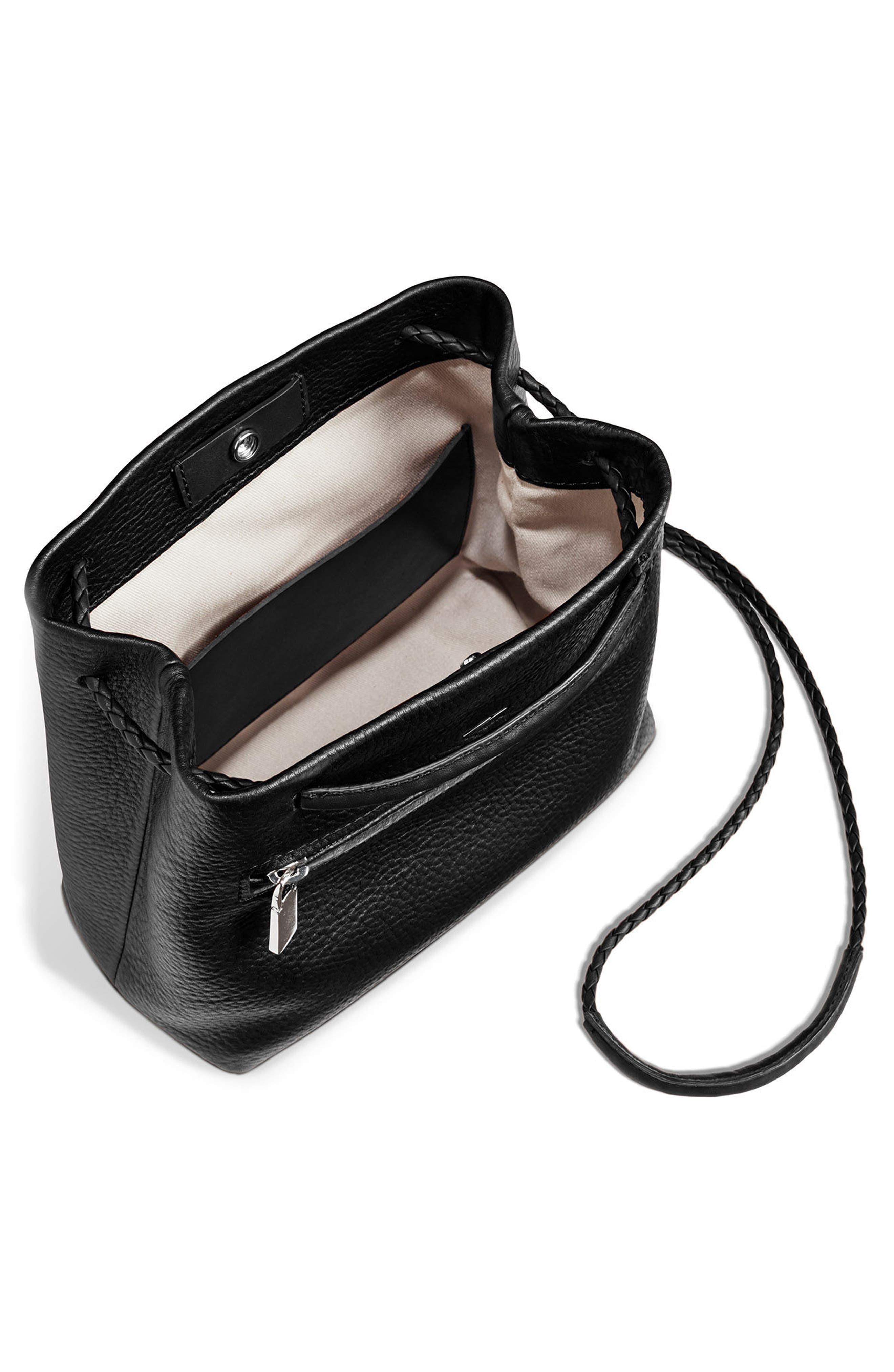 Mini Pebbled Leather Drawstring Crossbody Bag,                             Alternate thumbnail 4, color,                             001