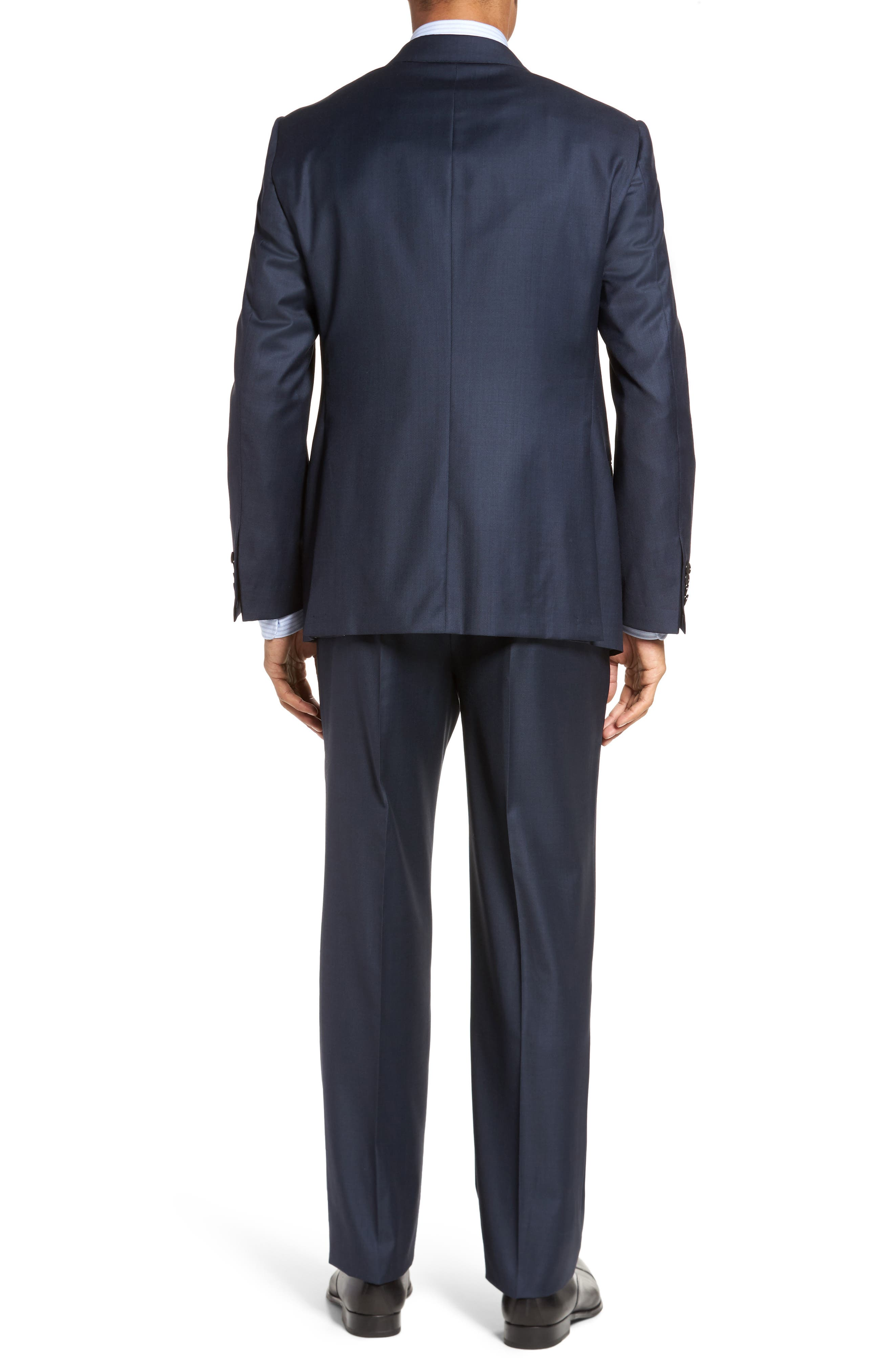 Modern H Fit Solid Loro Piana Wool Suit,                             Alternate thumbnail 2, color,                             NAVY SHARKSKIN