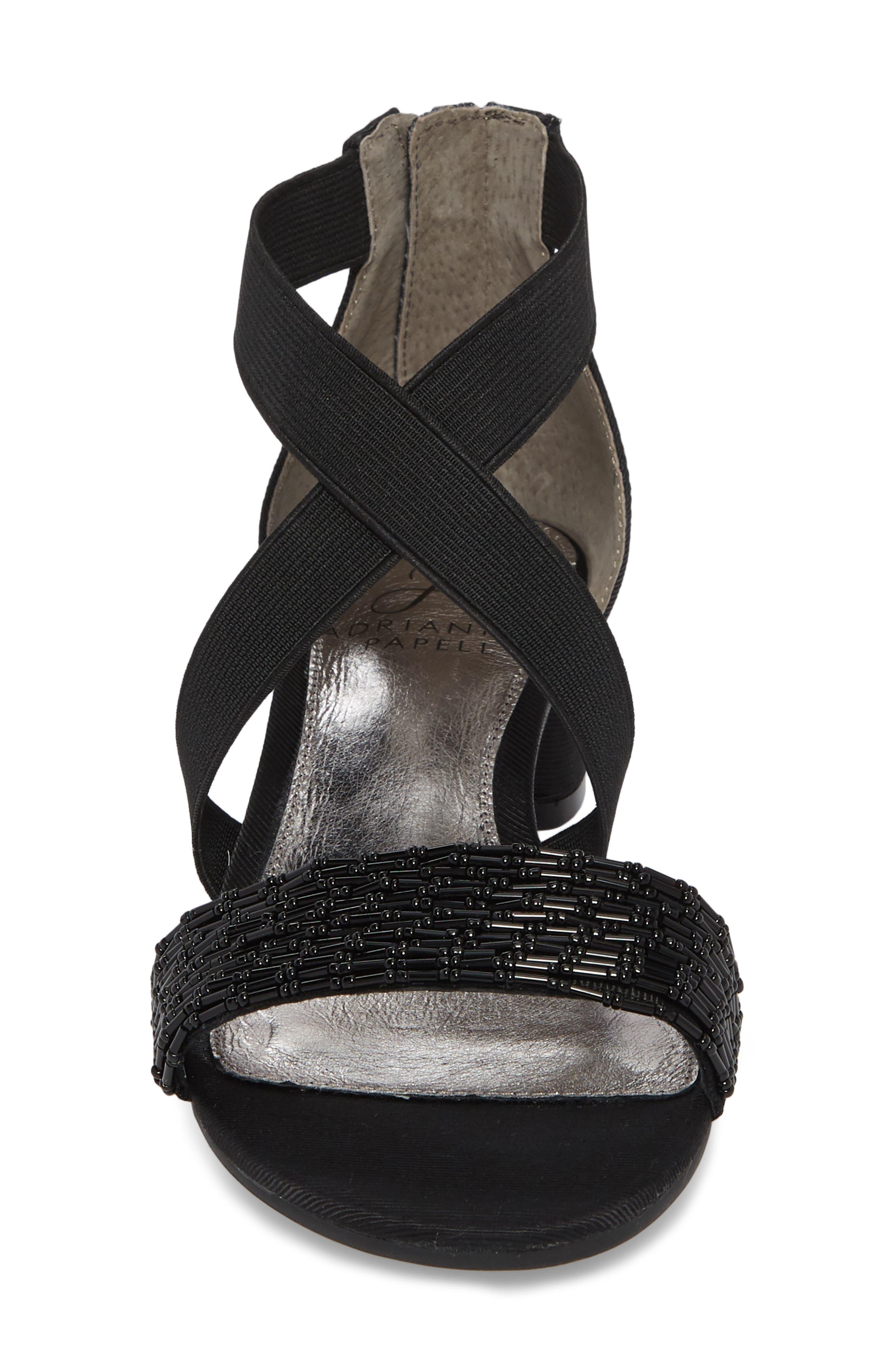 Teagen Block Heel Sandal,                             Alternate thumbnail 4, color,                             BLACK FABRIC