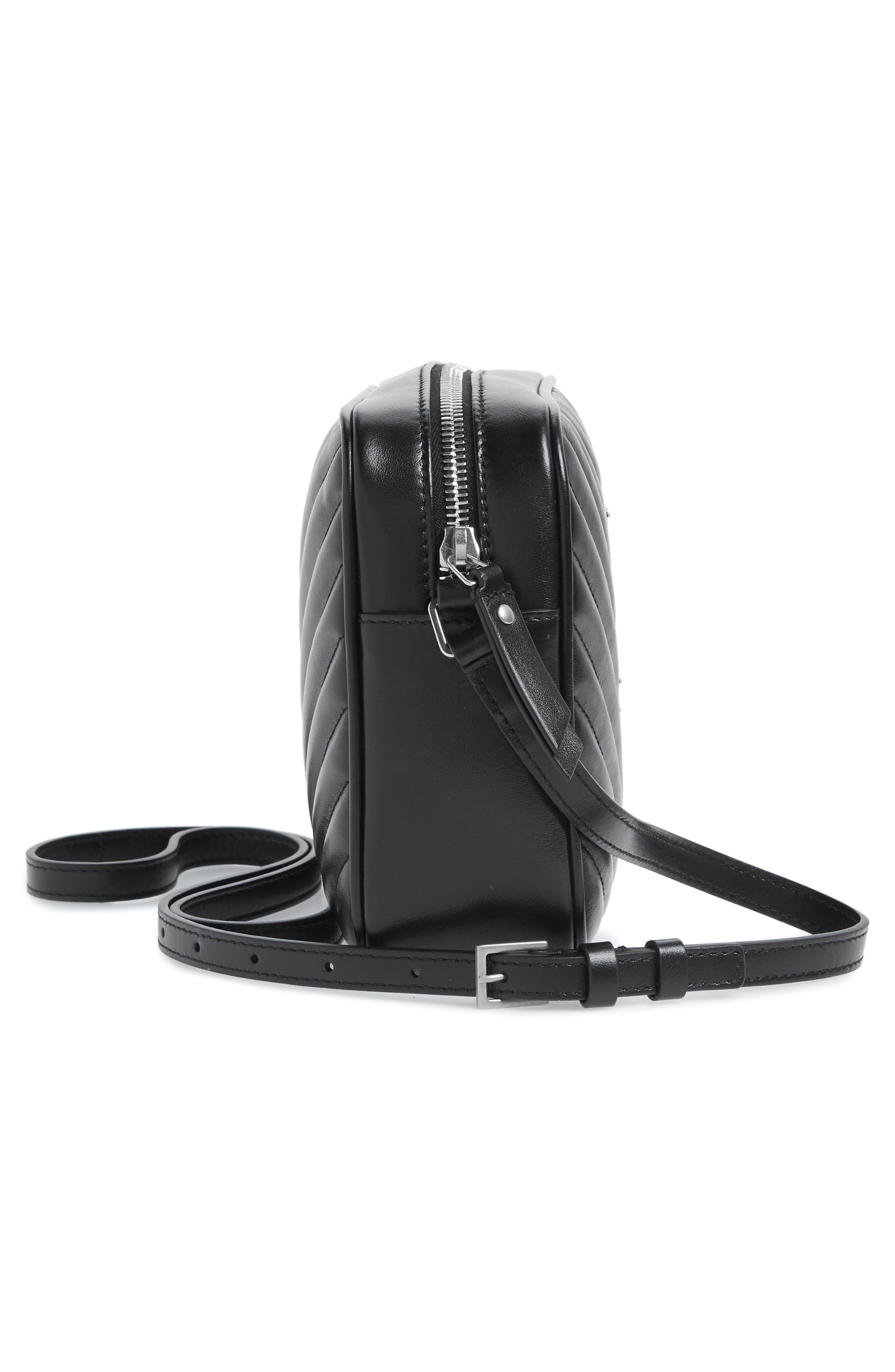 Medium Lou Calfskin Leather Camera Bag,                             Alternate thumbnail 5, color,                             001