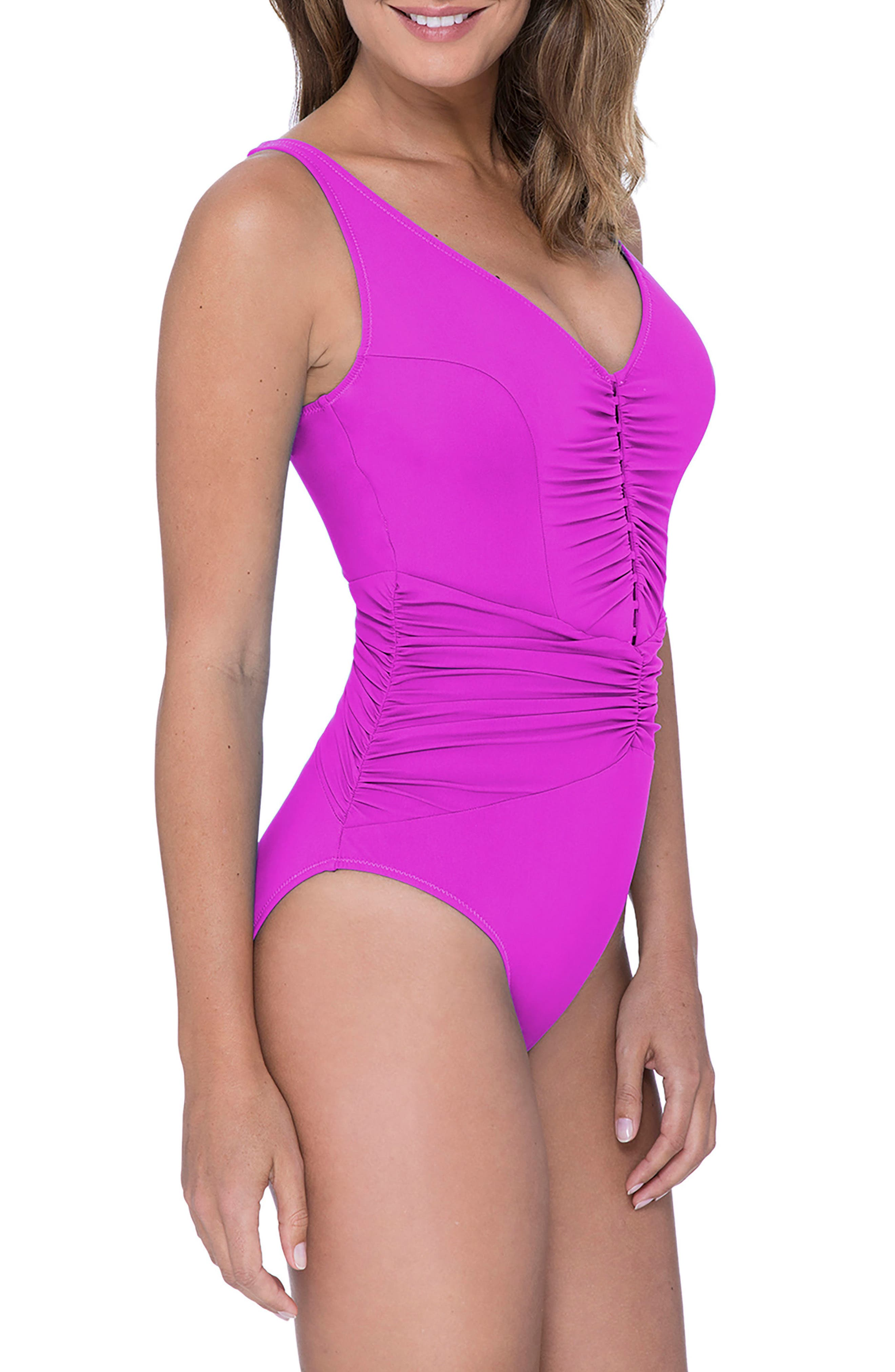 Cocktail Party One-Piece Swimsuit,                             Alternate thumbnail 3, color,                             WARM VIOLA
