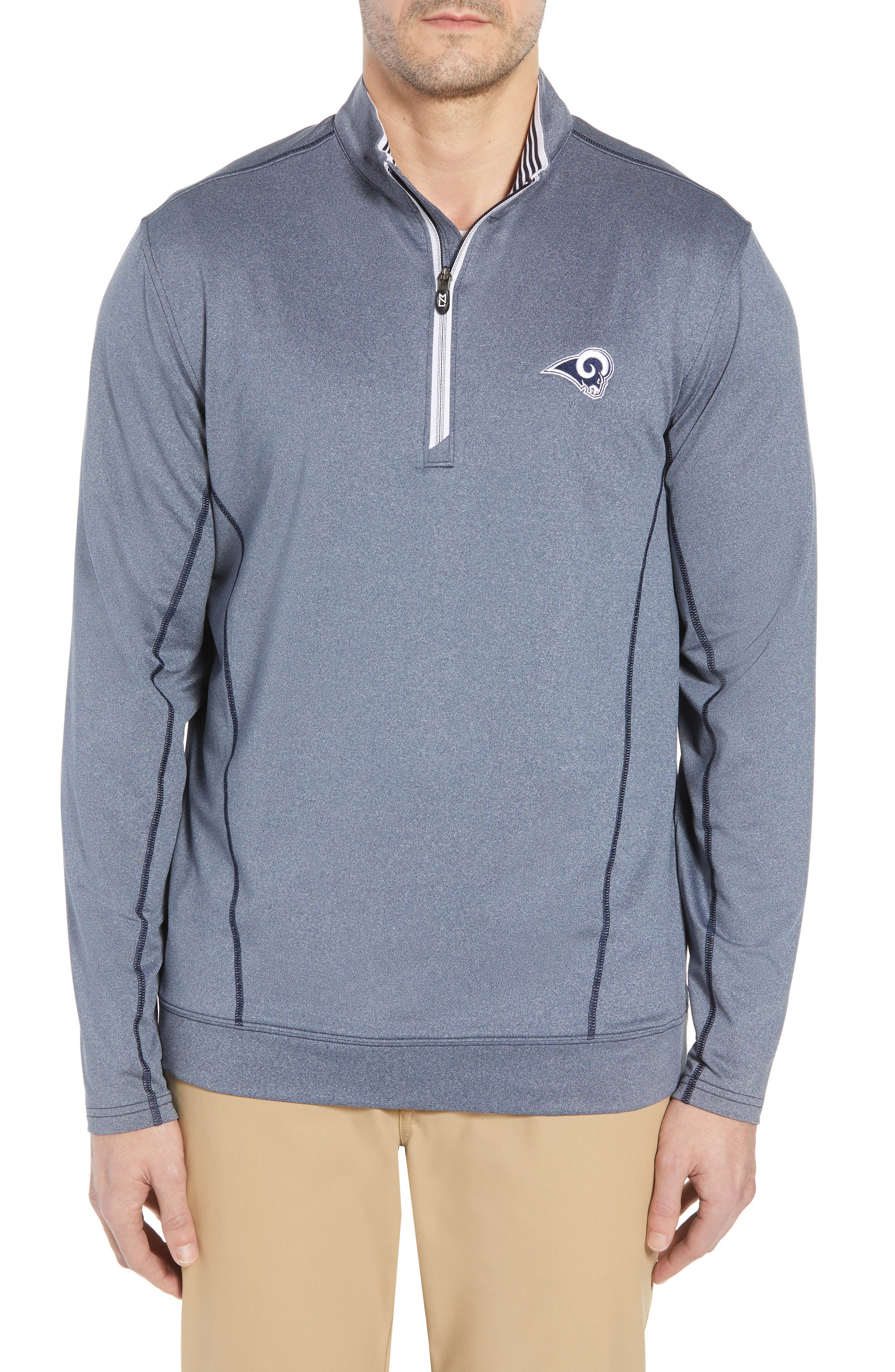 Endurance Los Angeles Rams Regular Fit Pullover,                             Main thumbnail 1, color,                             LIBERTY NAVY HEATHER