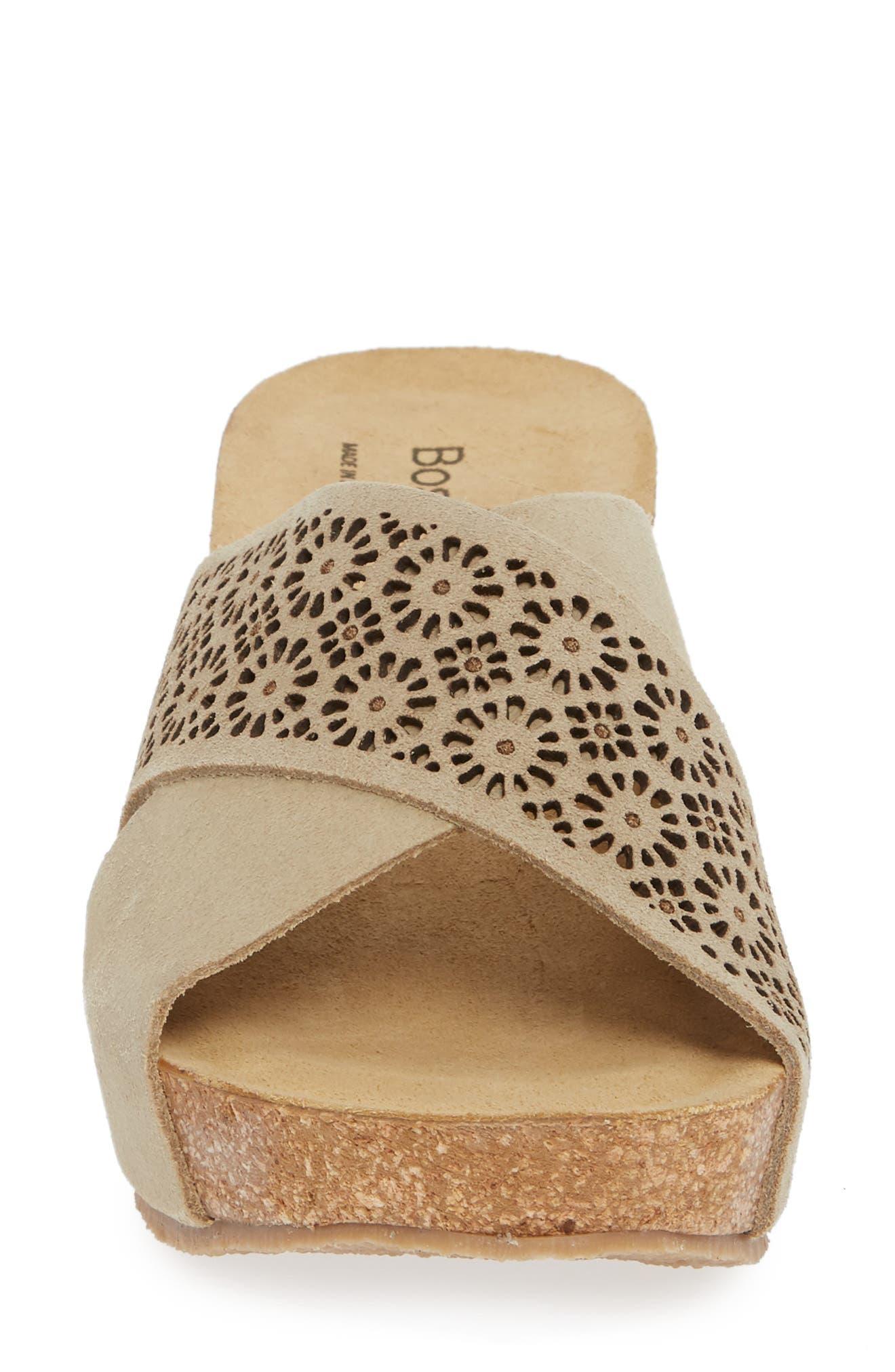 Lomi Platform Wedge Slide Sandal,                             Alternate thumbnail 4, color,                             BEIGE SUEDE