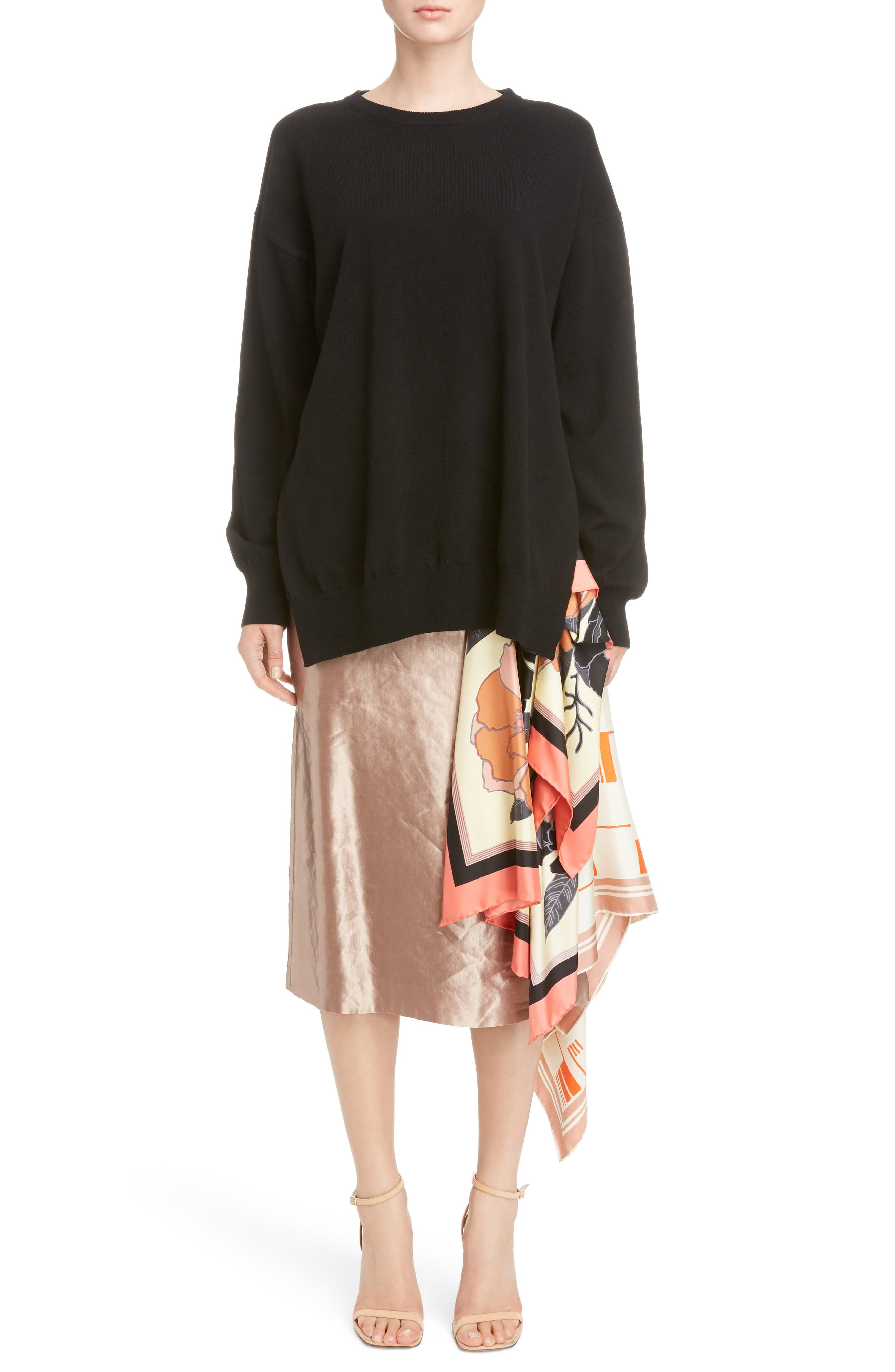 Scarf Satin Skirt,                             Alternate thumbnail 6, color,                             220