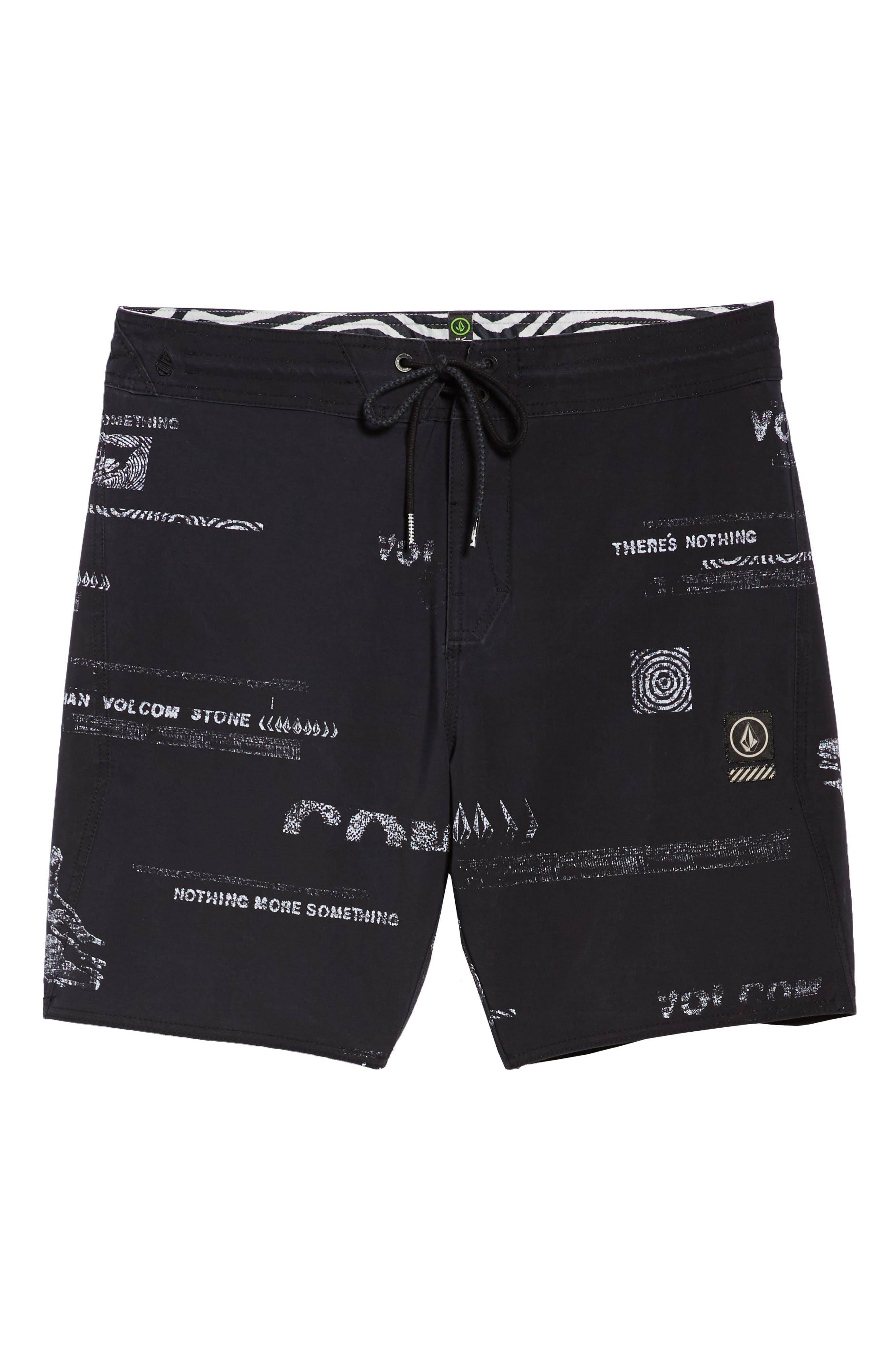 Nothing More Stoney Board Shorts,                             Alternate thumbnail 6, color,                             BLACK WHITE
