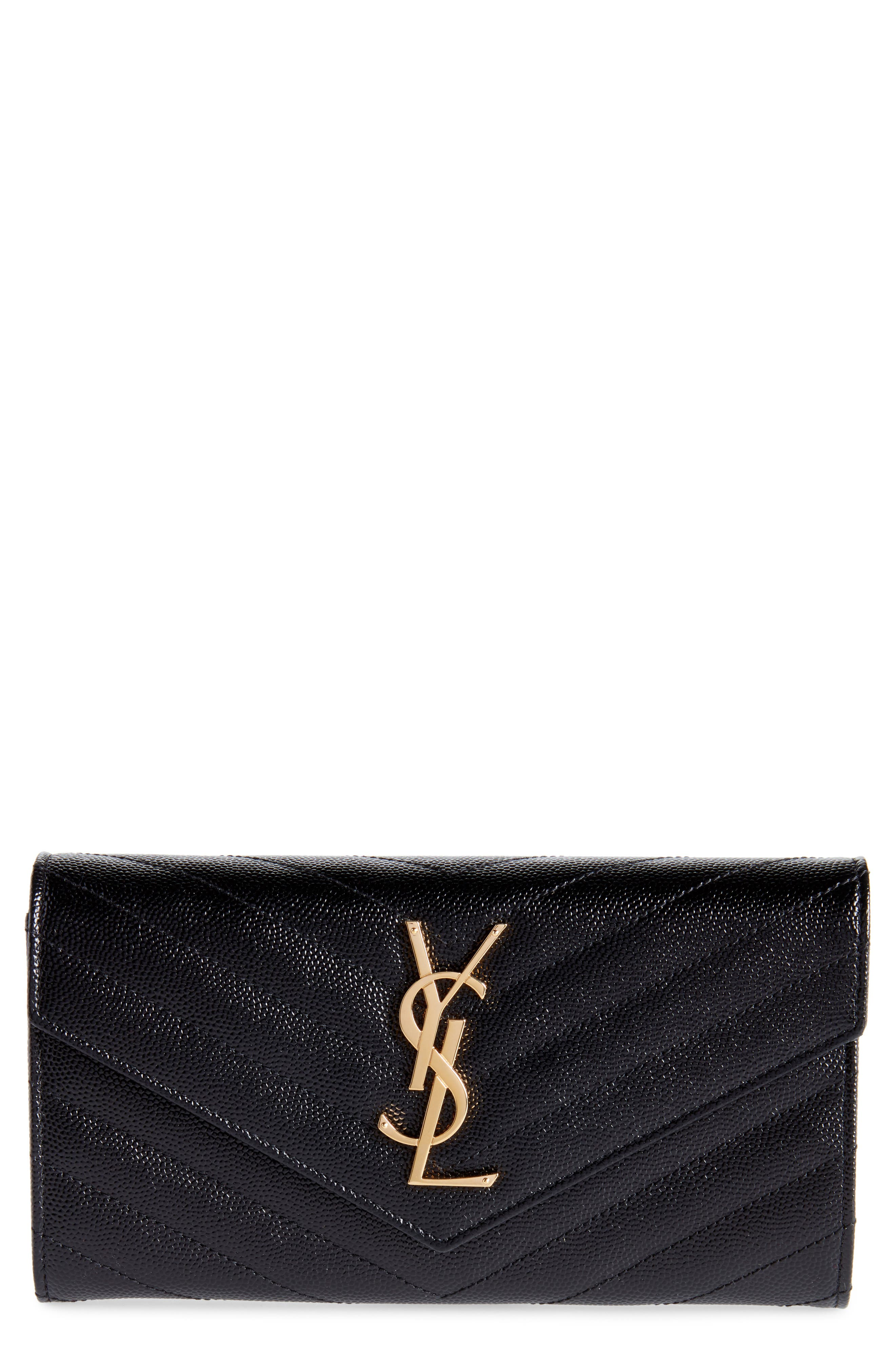 Monogram Logo Leather Flap Wallet,                             Main thumbnail 1, color,                             NERO