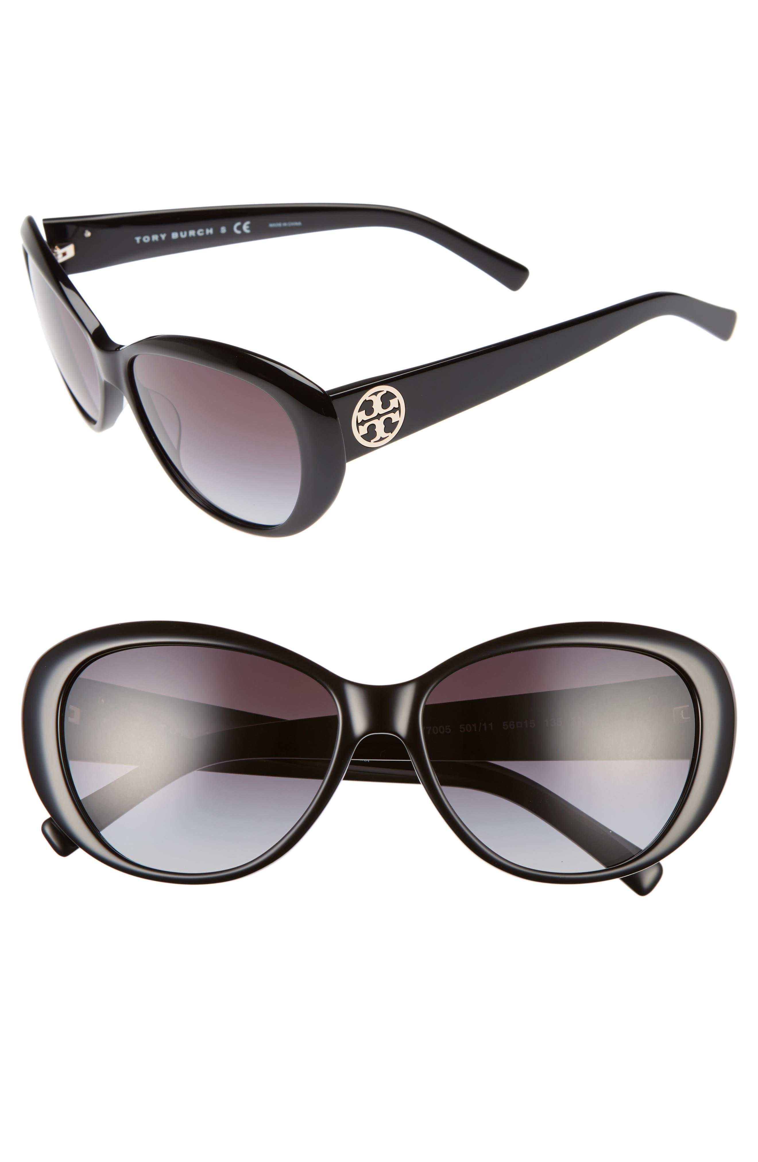 TORY BURCH,                             56mm Cat Eye Sunglasses,                             Main thumbnail 1, color,                             001