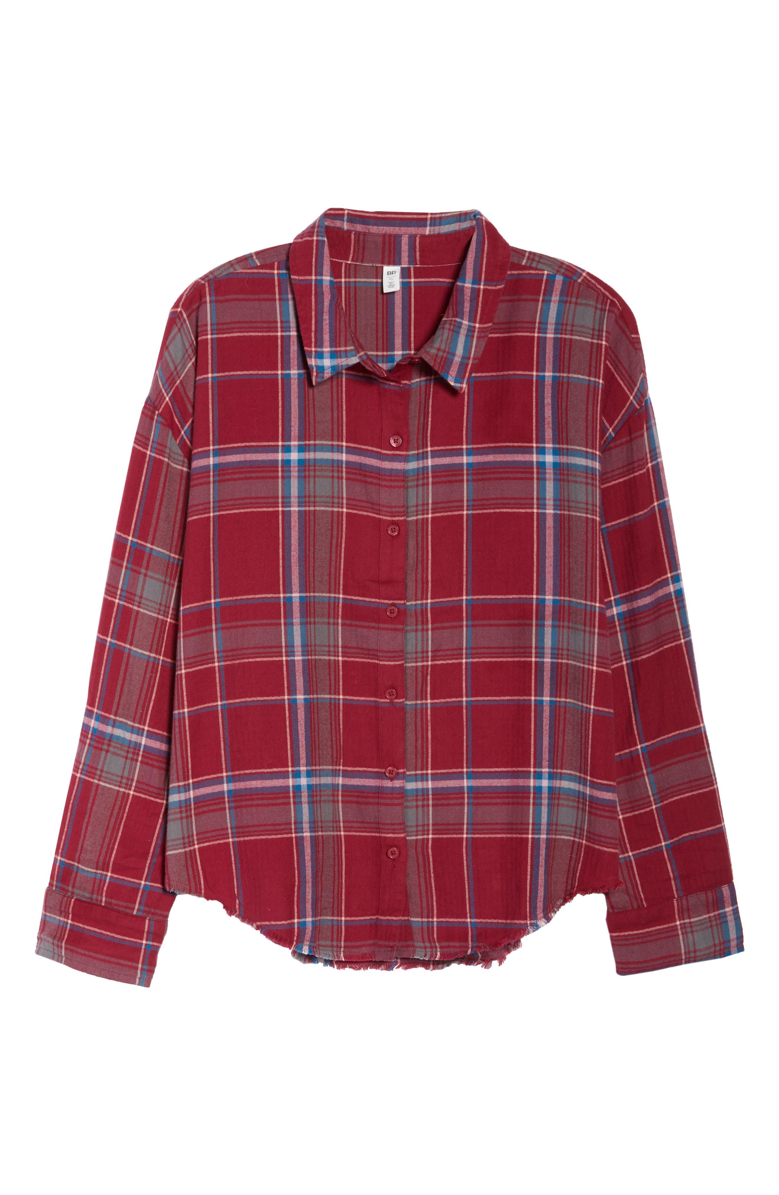 Frayed Edge Plaid Shirt,                             Alternate thumbnail 13, color,                             RED RUMBA NICOLE PLAID