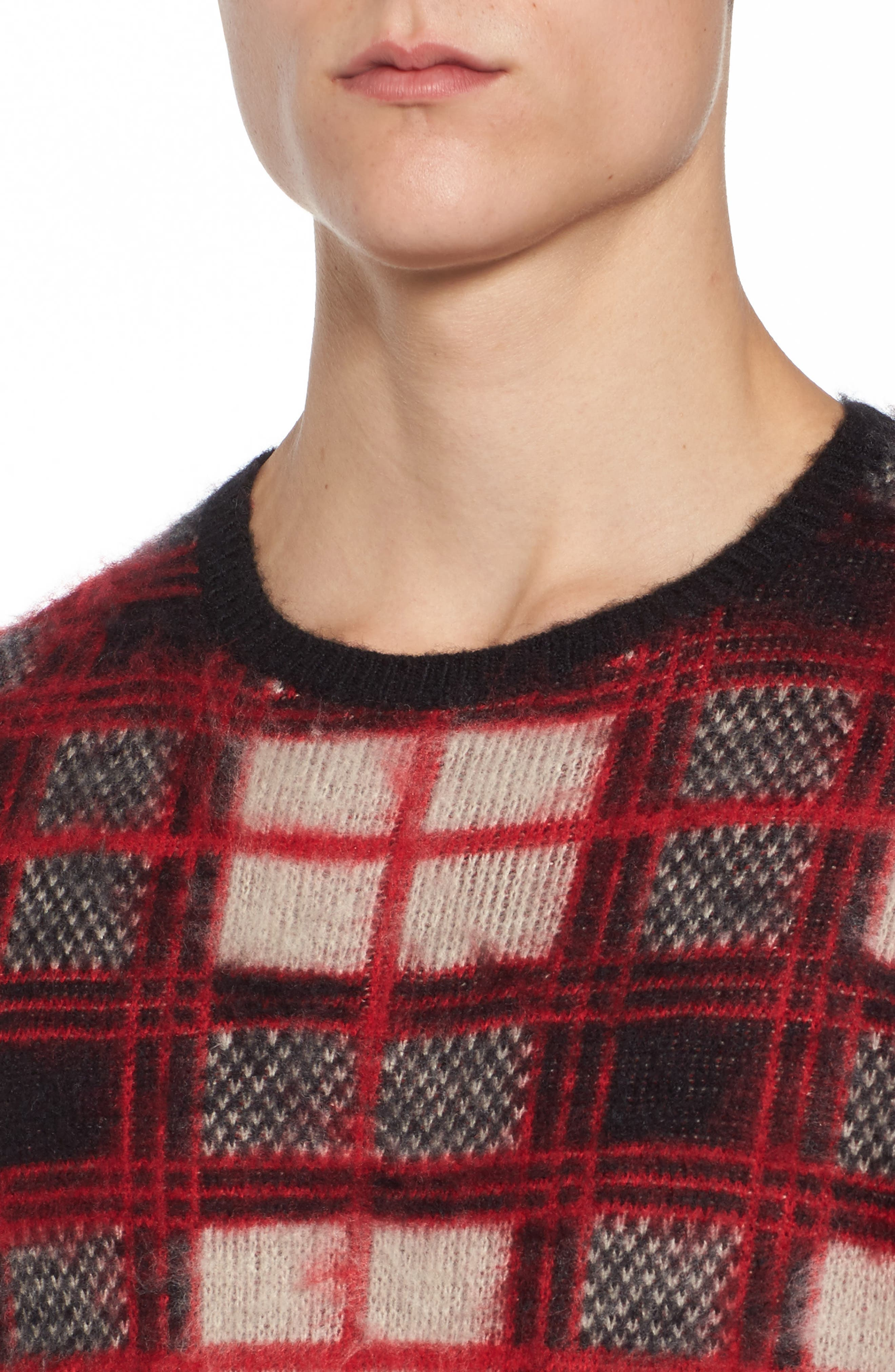 Fuzzy Plaid Sweater,                             Alternate thumbnail 4, color,                             610