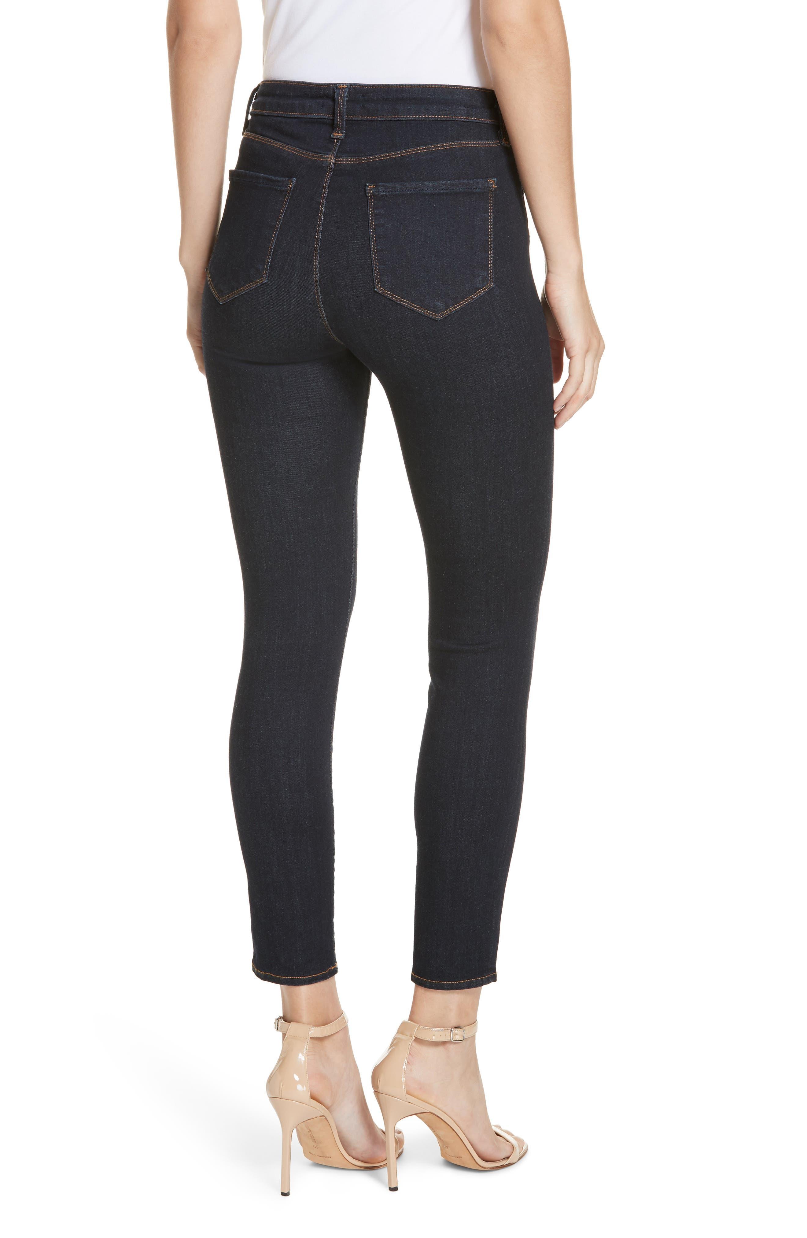 Margot High Waist Crop Jeans,                             Alternate thumbnail 2, color,                             MIDNIGHT