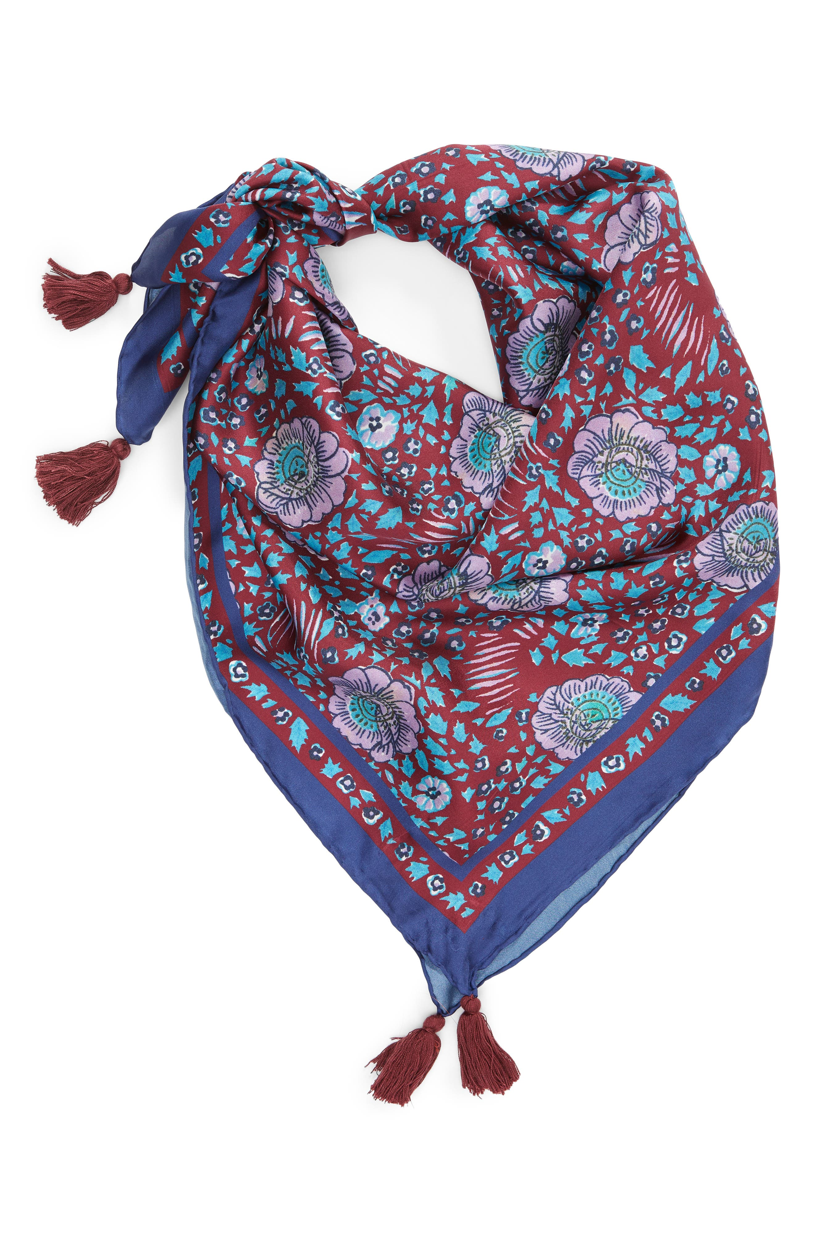 Persian Rose Square Silk Scarf,                             Alternate thumbnail 2, color,                             RED