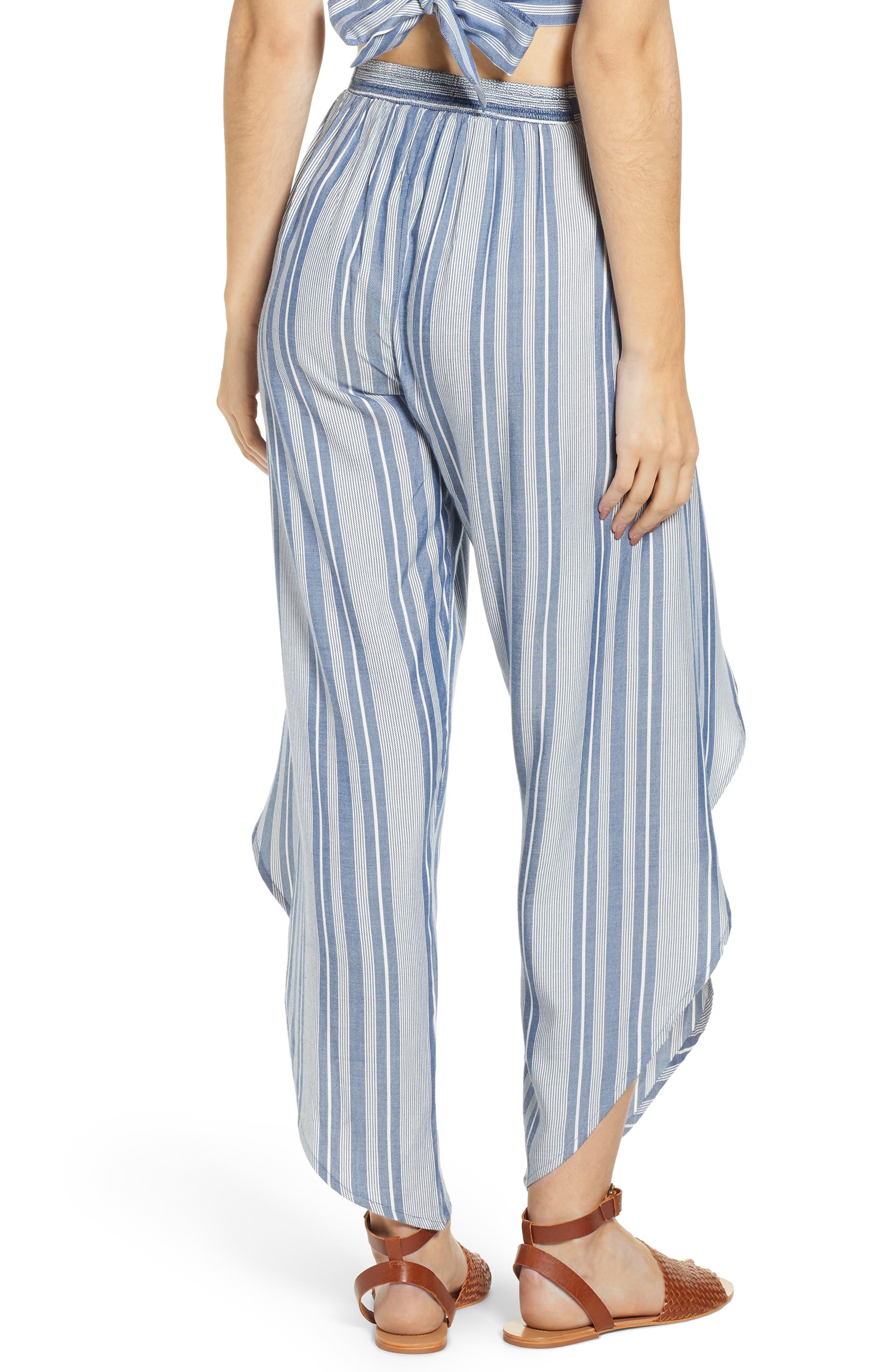 Jessa Stripe Tulip Hem Pants,                             Alternate thumbnail 2, color,                             MARSHMALLOW EMBROIDERED FLORAL