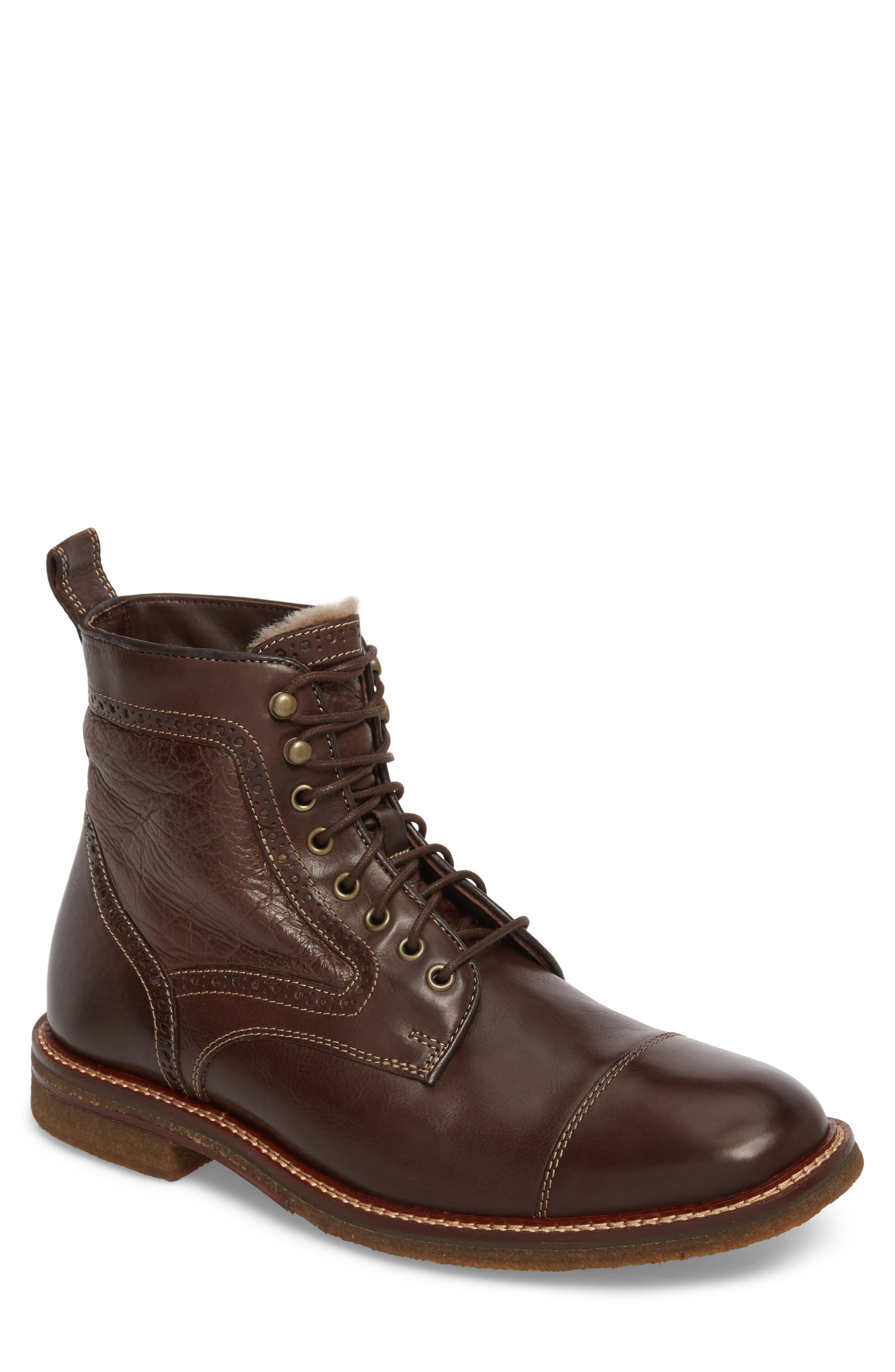 Forrester Genuine Shearling Lined Cap Toe Boot,                             Main thumbnail 1, color,
