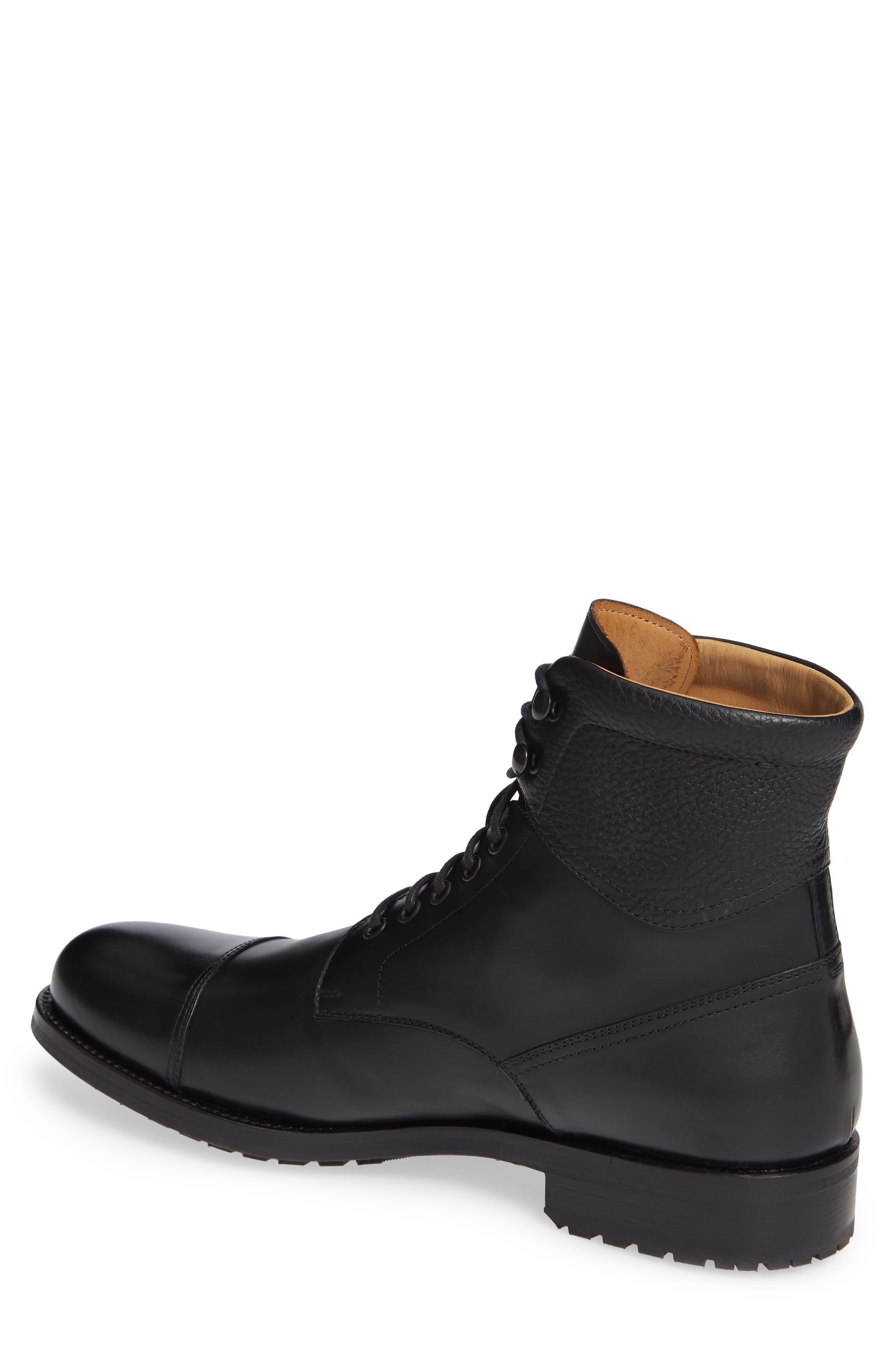 Peyton Cap Toe Boot,                             Alternate thumbnail 2, color,                             BLACK LEATHER