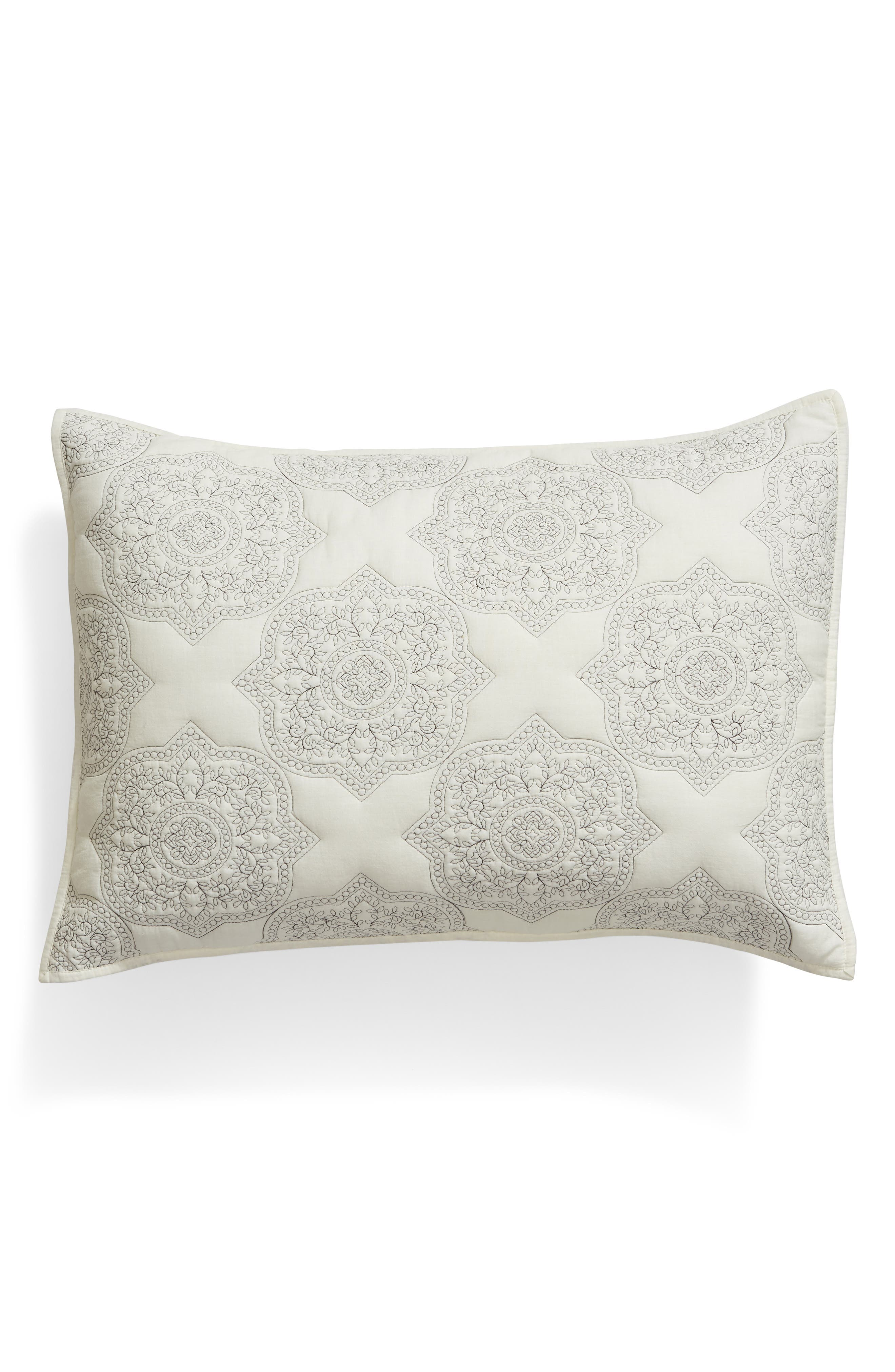 Ria Embroidered Sham,                             Main thumbnail 1, color,                             IVORY