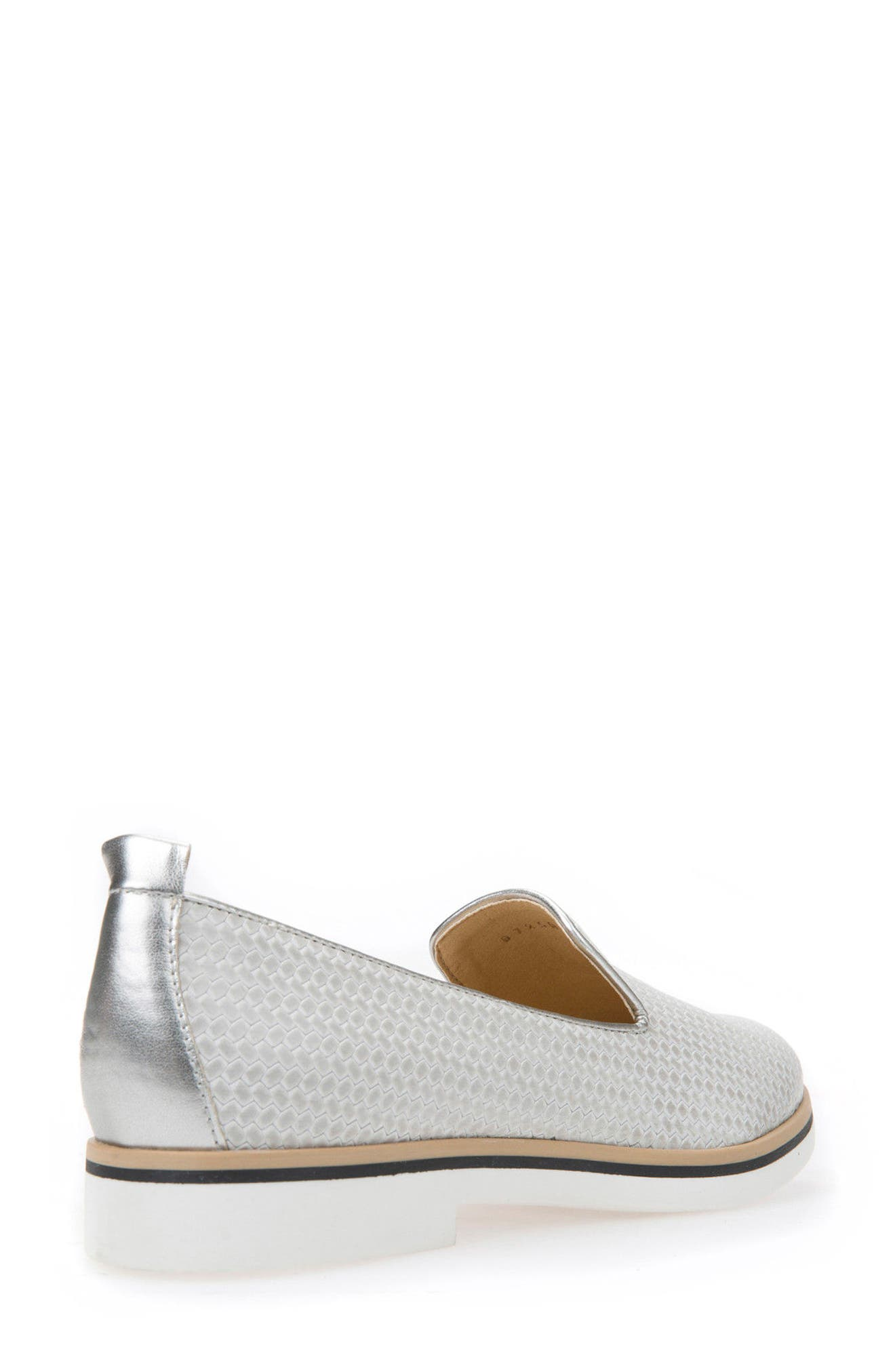 Janalee Woven Loafer,                             Alternate thumbnail 2, color,                             LIGHT GREY LEATHER