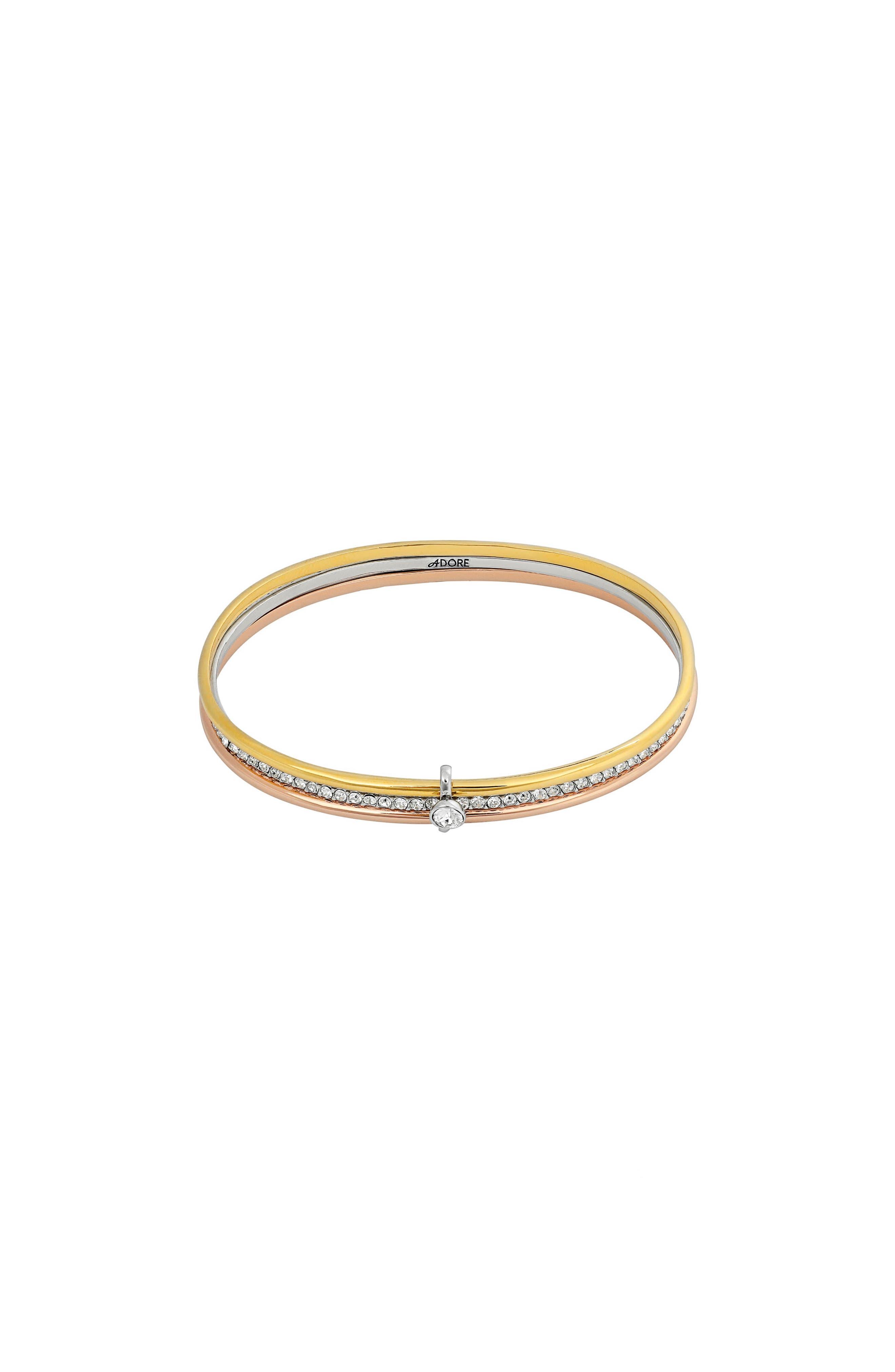 ADORE Interlocking Ring Bangle Trio Bracelet in Silver/ Gold/ Rose Gold