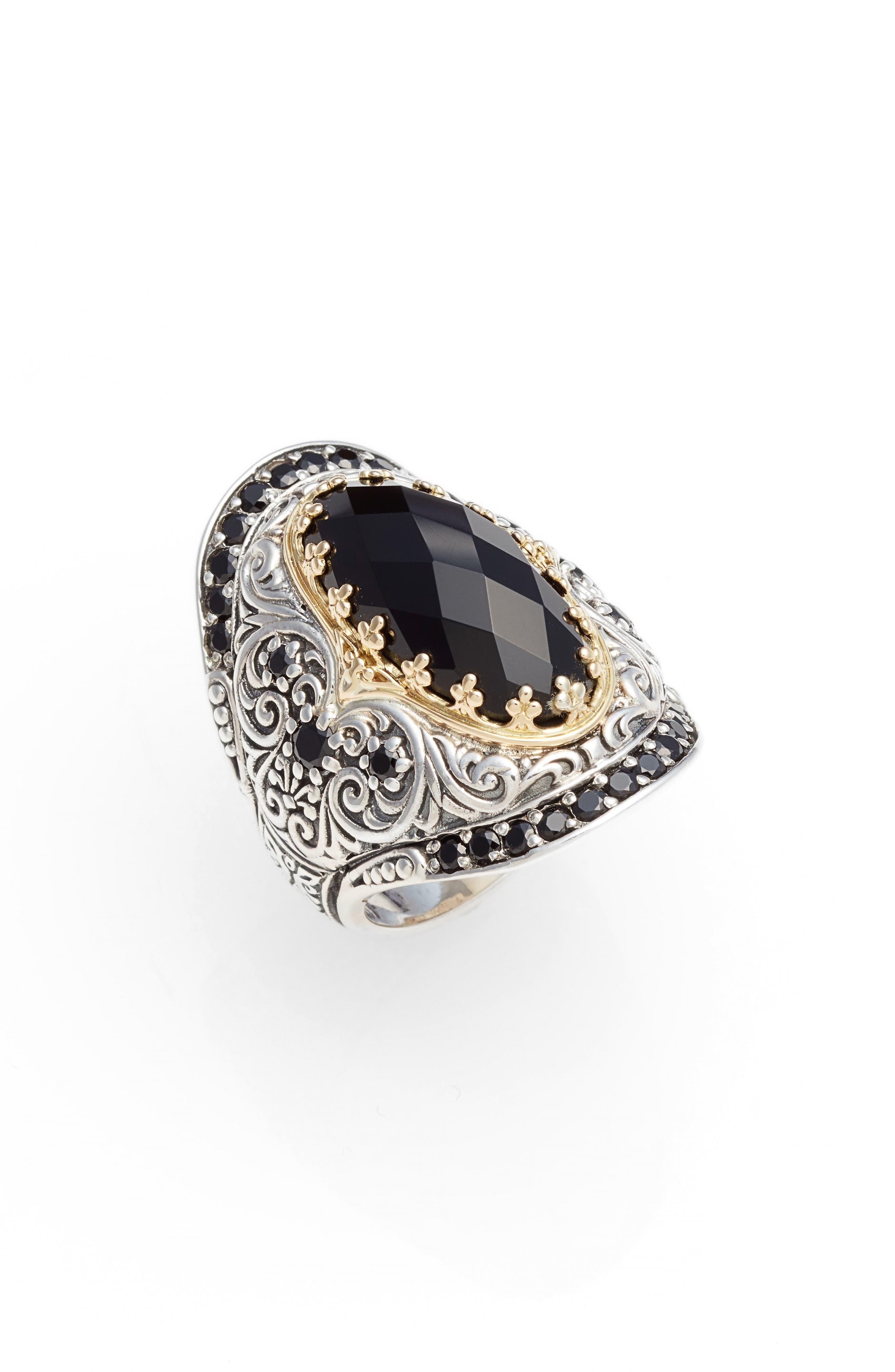 Selene Saddle Ring,                             Main thumbnail 1, color,                             SILVER/ GOLD/ BLACK