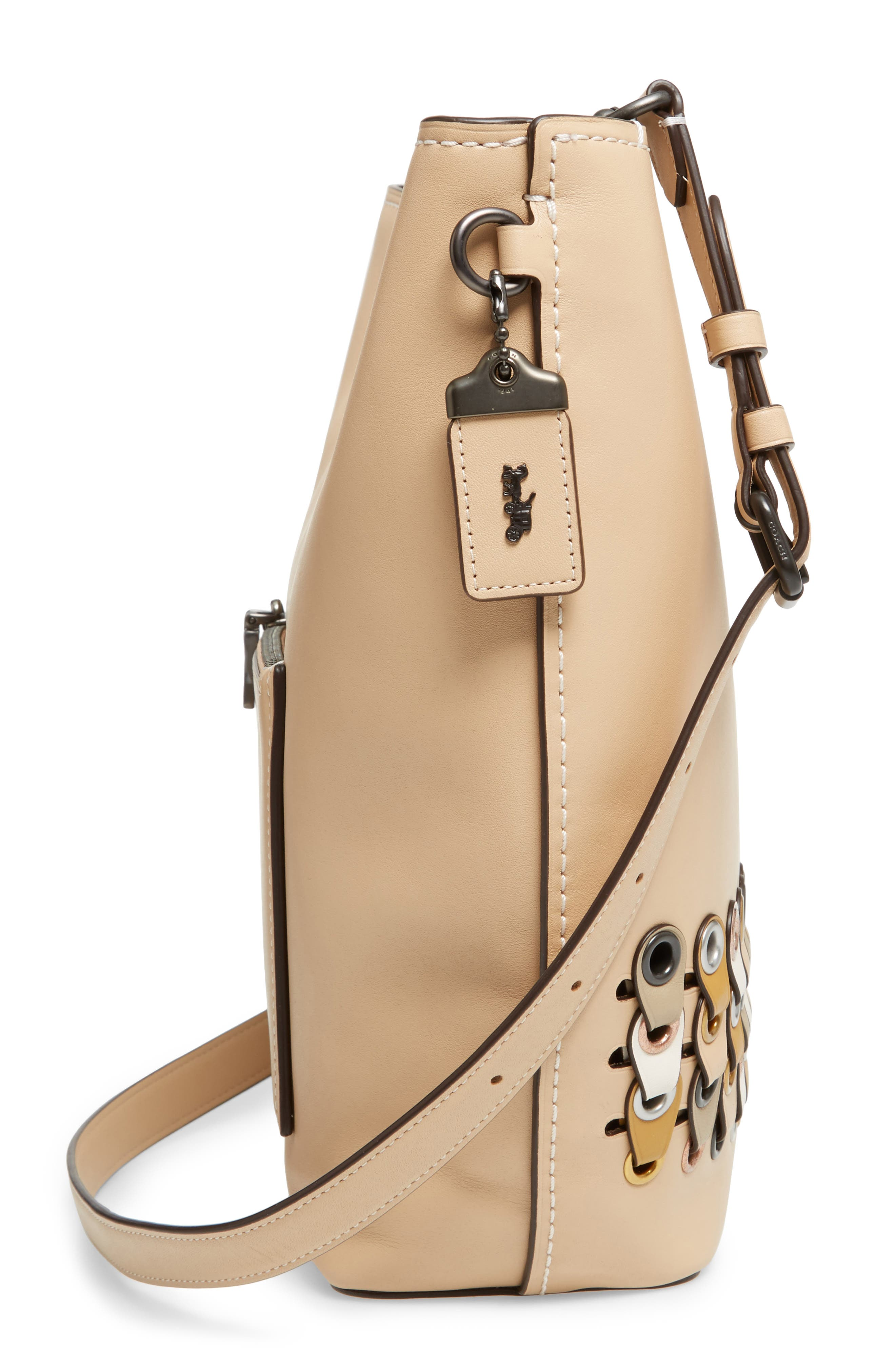 Linked Leather Tote,                             Alternate thumbnail 5, color,                             249