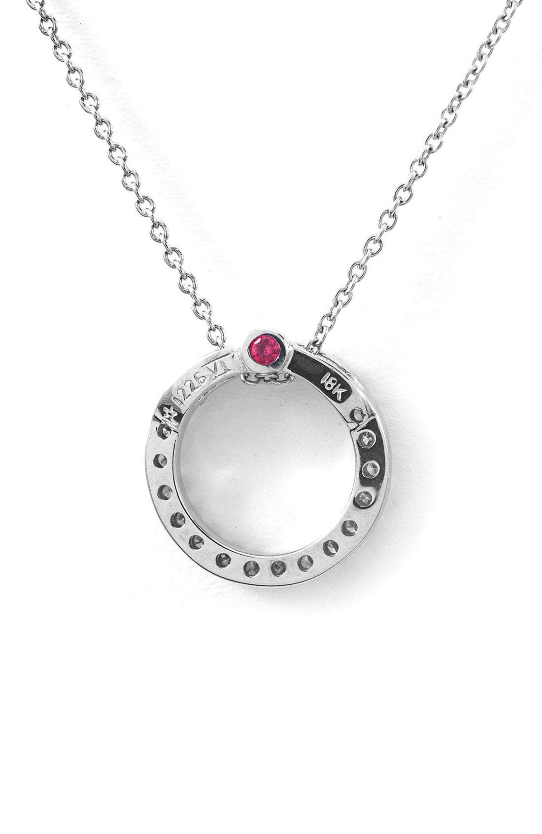 ROBERTO COIN,                             'Tiny Treasures' Small Diamond Circle Pendant Necklace,                             Alternate thumbnail 4, color,                             WHITE GOLD