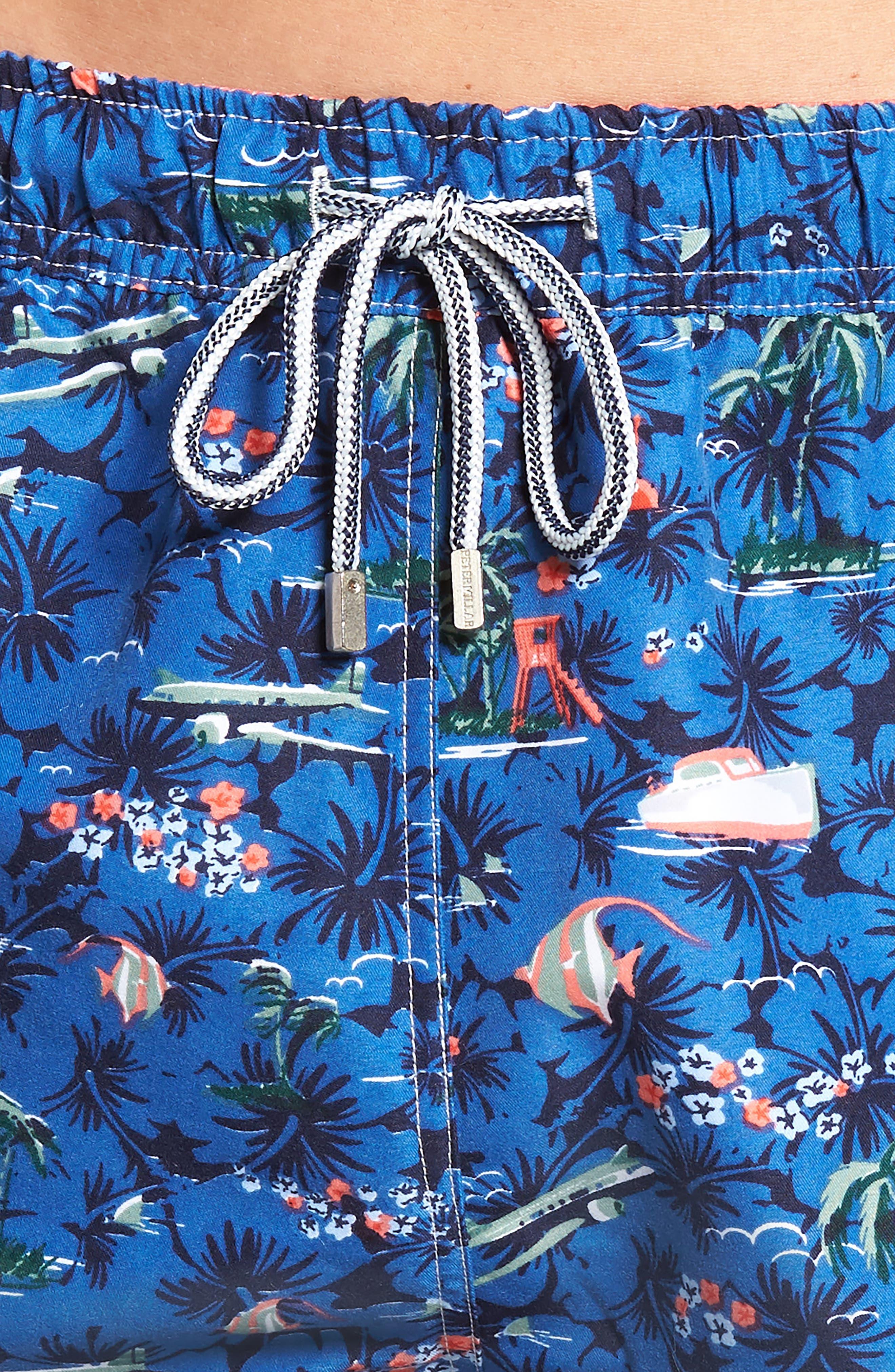 Hawaiian Express Swim Trunks,                             Alternate thumbnail 4, color,                             BLUE