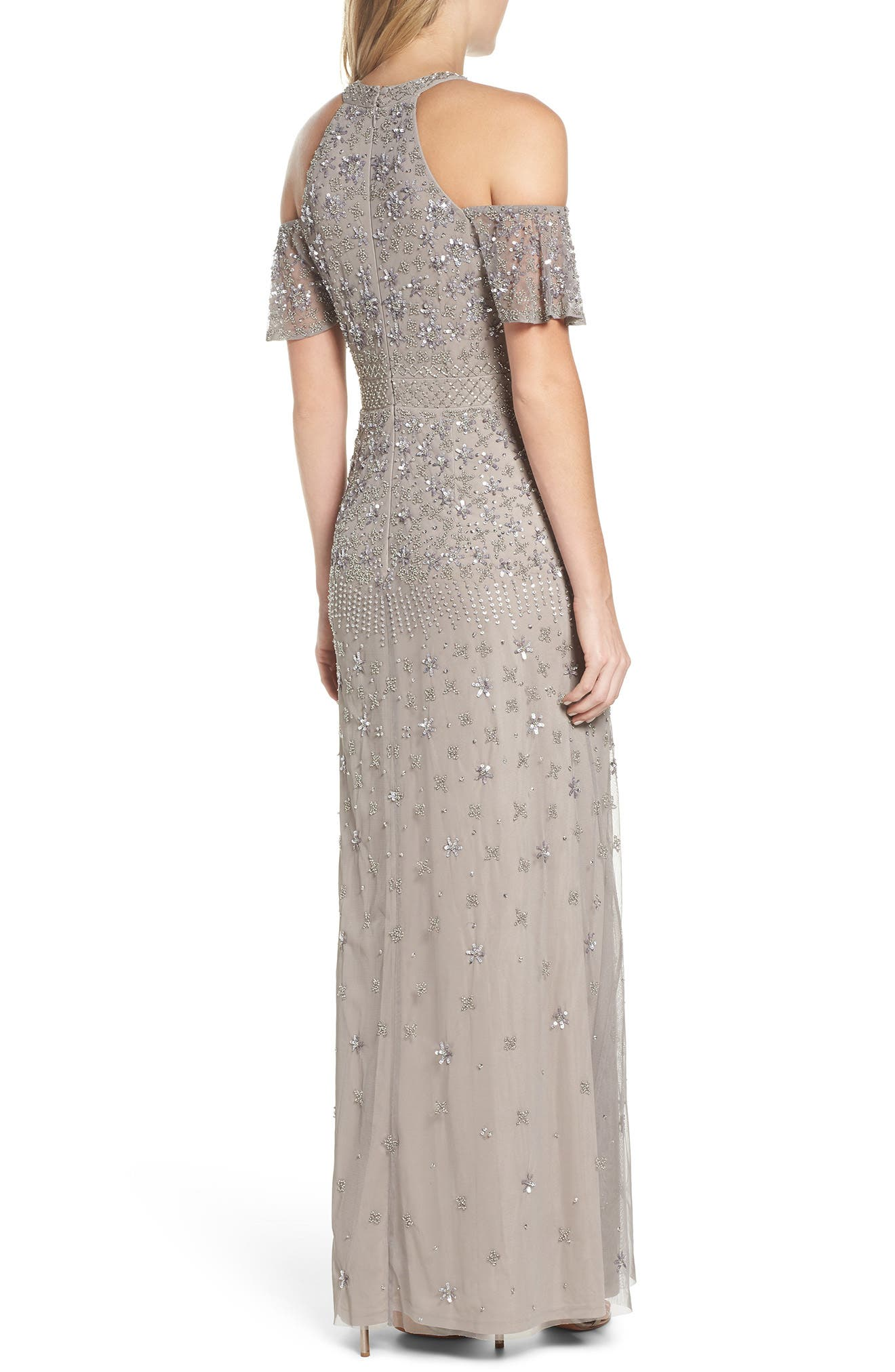 Beaded Cold Shoulder Gown,                             Alternate thumbnail 2, color,                             046