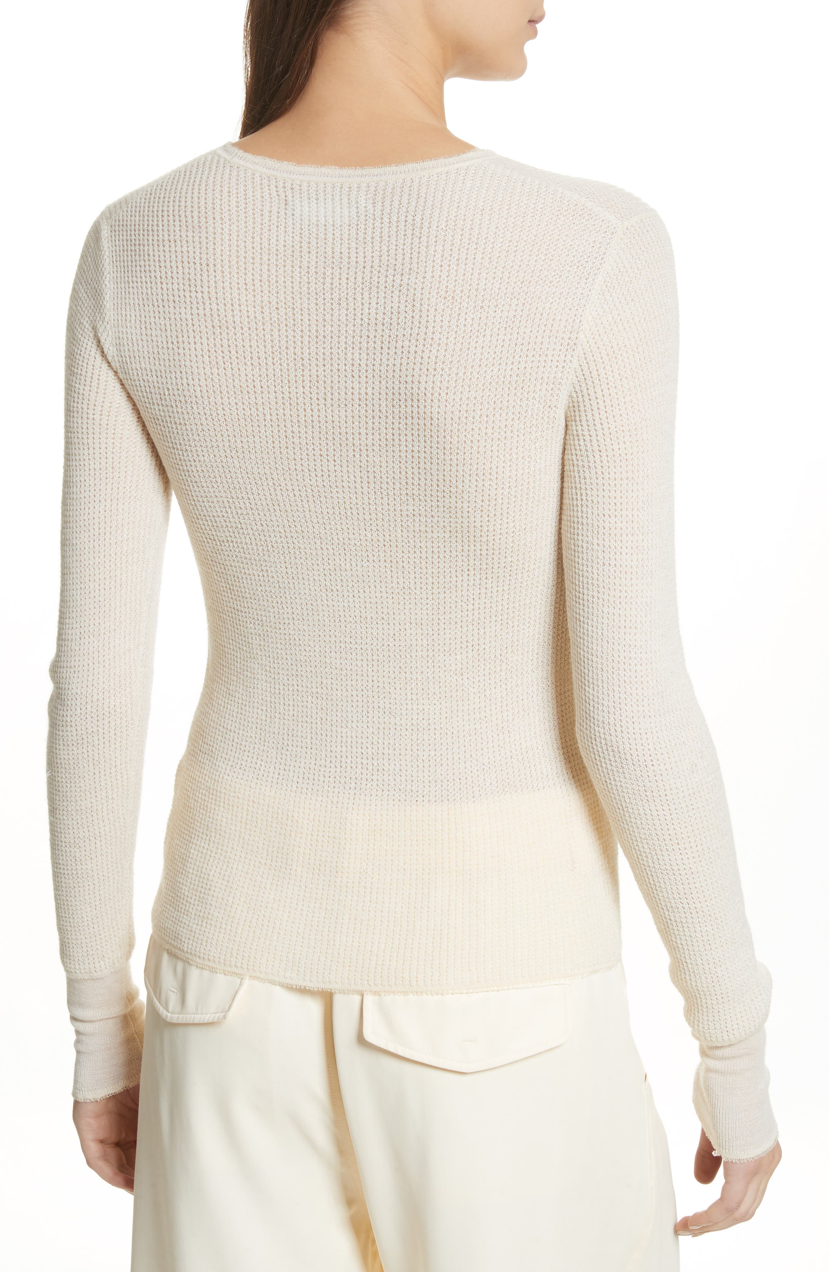 Waffle Knit Wool & Cashmere Top,                             Alternate thumbnail 4, color,