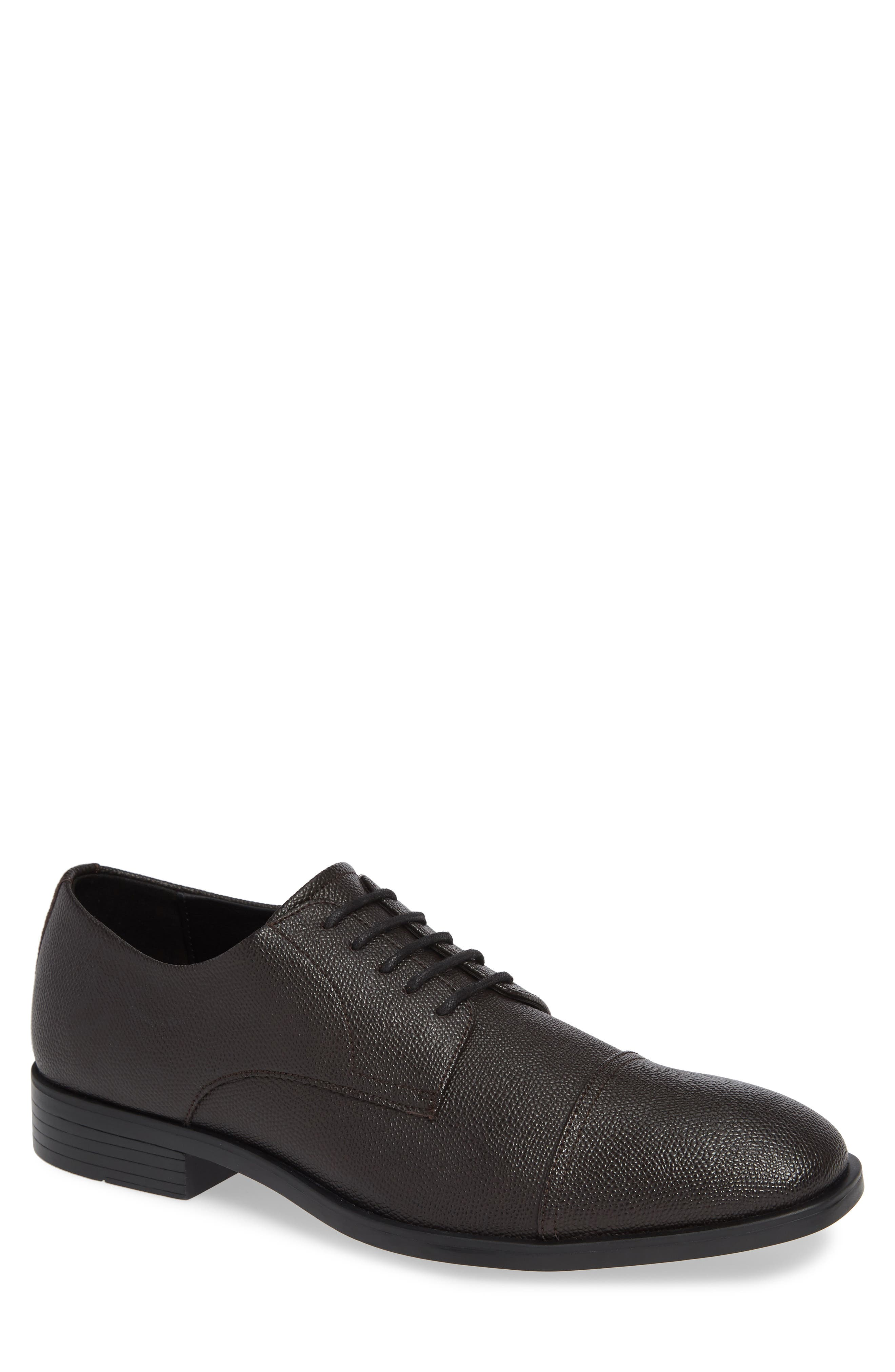 Connor Cap Toe Derby,                             Main thumbnail 1, color,                             DARK BROWN LEATHER